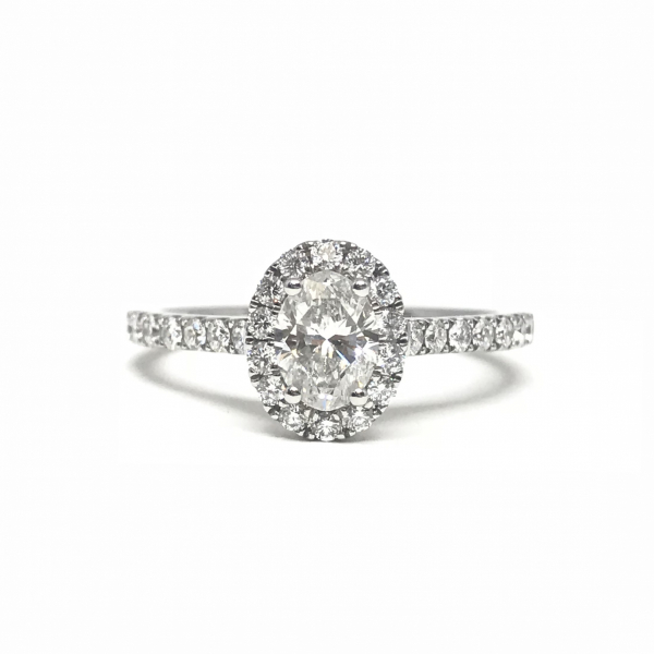 Engagement Rings - Oval halo with an oval center diamond