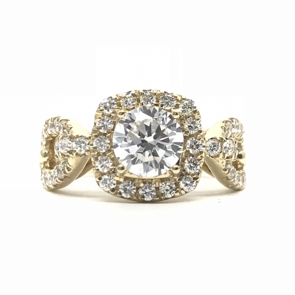 Engagement Rings - Chain Link Round Semi-Mount Ring