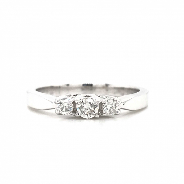 Engagement Rings - 3 Stone White Gold Engagement Ring
