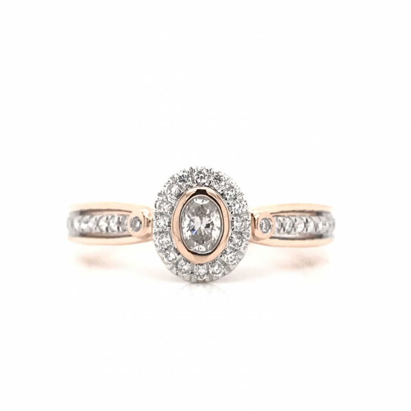 Engagement Rings - Oval Rose Gold Engagement Ring with a Diamond Halo