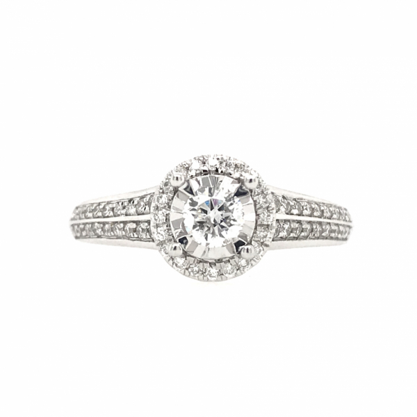 Engagement Rings - Round Double Band Halo Engagement Ring