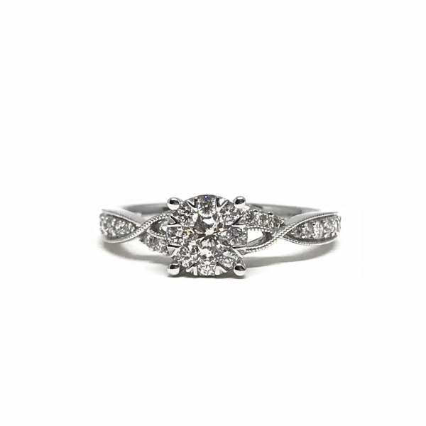 Engagement Rings - Lovebright Diamond Engagement Ring with Twisted Band