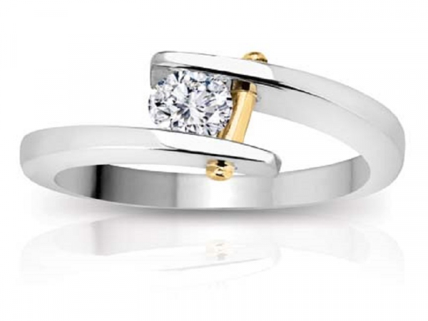 PIN RING - THIS 14 KARAT GOLD PIN RING IS SET WITH 0.20 CARATS BUT IS AVAILABLE WITH ANY SIZE DIAMOND.