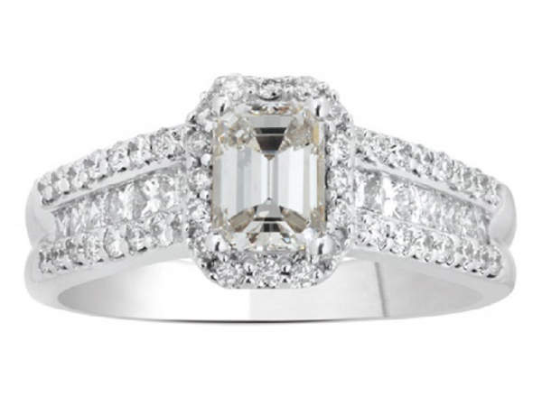 DIAMOND ENGAGEMENT RING - A STUNNING 14 KARAT EMERALD CUT DIAMOND ENGAGEMENT RING. THE EMERALD CUT DIAMOND IS 0.54 CARATS AND HAS 0.40 CARATS OF PRINCESS CUTS AND 0.28 CARATS OF FULL CUT DIAMONDS . THE TOTAL DIAMOND WEIGHT OF 1.22 CARATS.