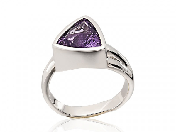 Amethyst Triangle Cut Ring - Brilliant Triangle cut Amethyst set into sterling silver.
