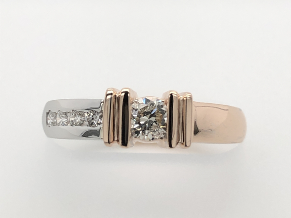 WHITE AND PINK GOLD RIGHT HAND RING - A BEAUTIFUL WHITE AND ROSE GOLD RIGHT HAND RING....OR MAYBE A BRIDAL RING.  THE DIAMOND TOTAL WEIGHT IS 0.39 CT.