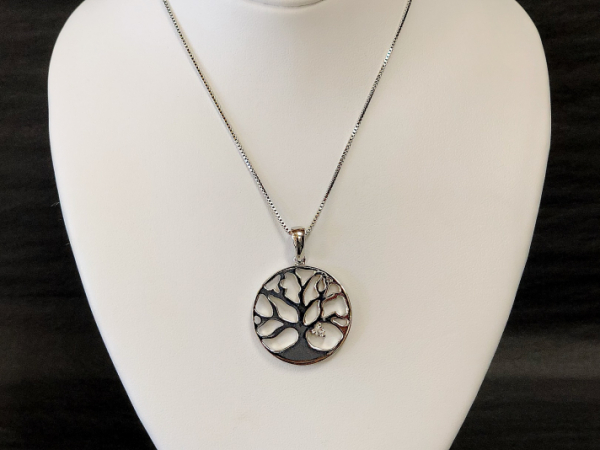Sterling Silver Tree of Life with Diamond - Sterling Silver Tree of Life set with a 0.05 Diamond