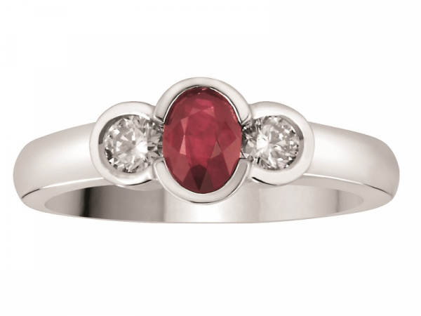 TRINITY COLOUR  - A 14 KARAT WHITE GOLD 0.87 CARAT  RUBY AND DIAMOND RING IS SET WITH 0.27 CARATS OF DIAMONDS. PERFECT FOR THAT JULY BIRTHDAY OR ANNIVERSARY