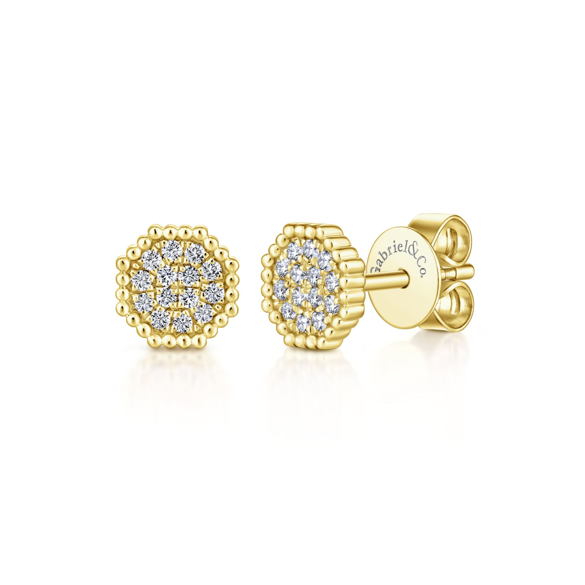 Earrings - YELLOW GOLD STUD DIAMOND EARRINGS