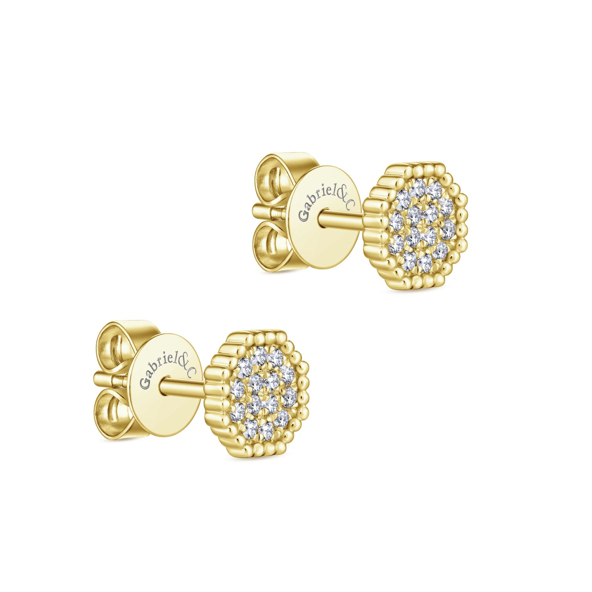 Earrings - YELLOW GOLD STUD DIAMOND EARRINGS - image #2