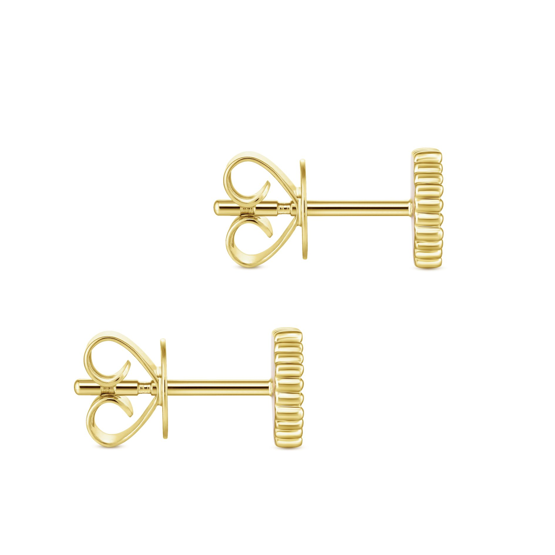 Earrings - YELLOW GOLD STUD DIAMOND EARRINGS - image #3