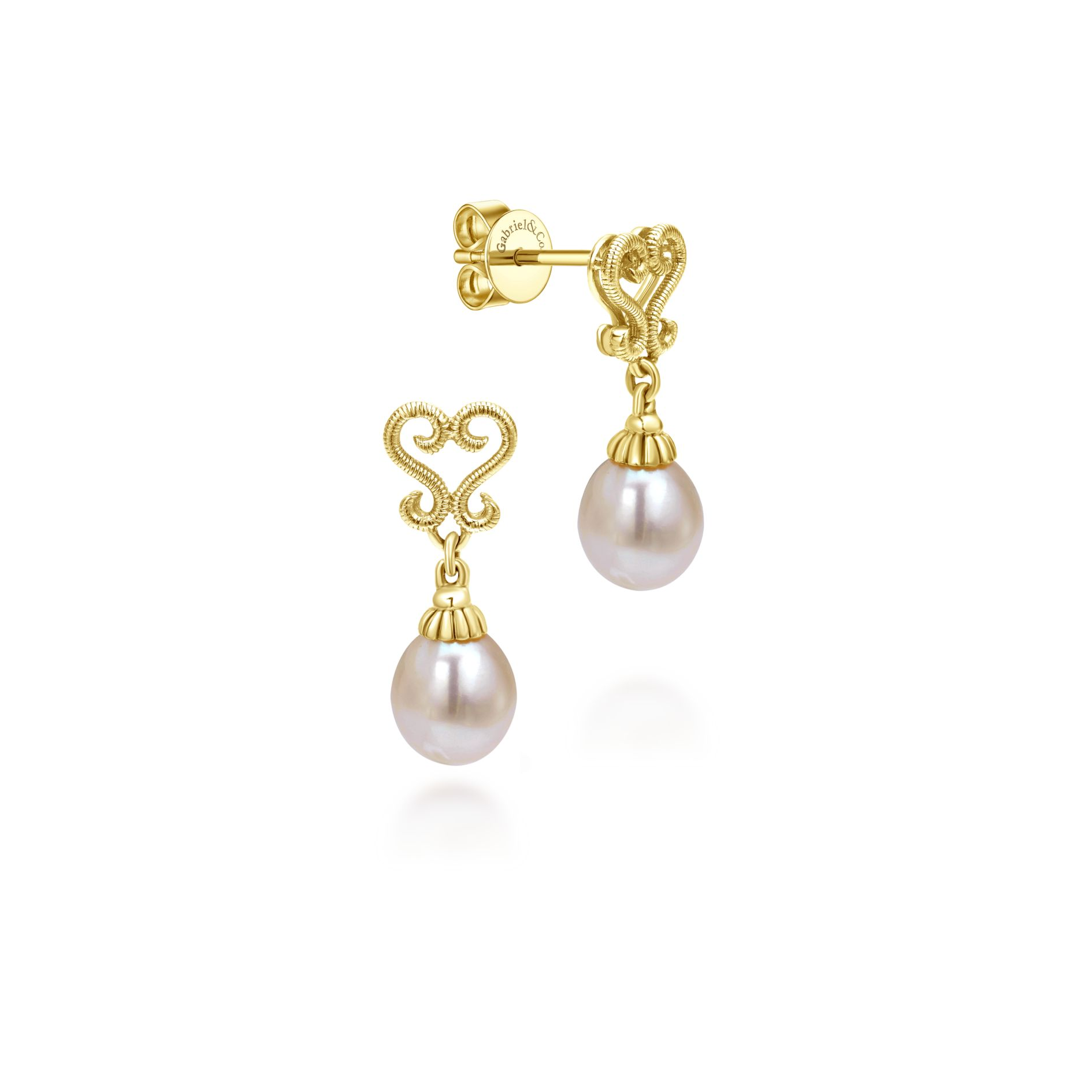 Earrings - YELLOW GOLD DROP CULTURED PEARL EARRINGS