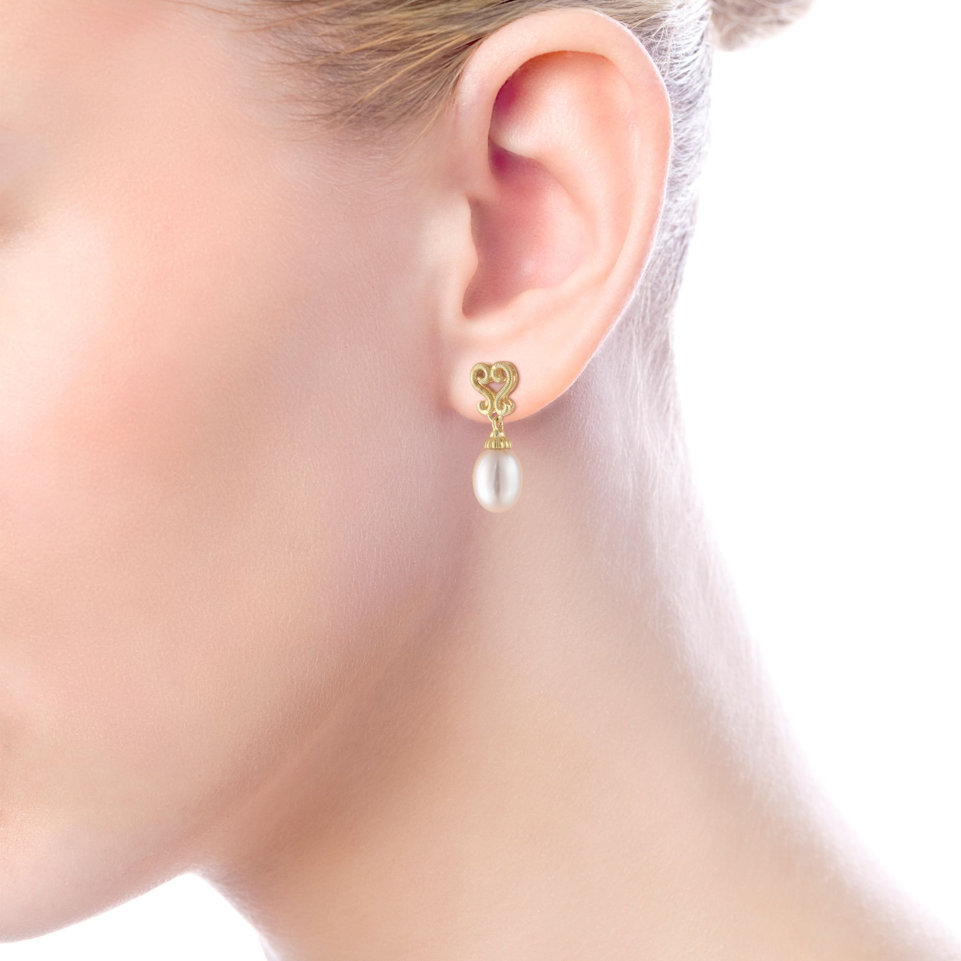 Earrings - YELLOW GOLD DROP CULTURED PEARL EARRINGS - image #2