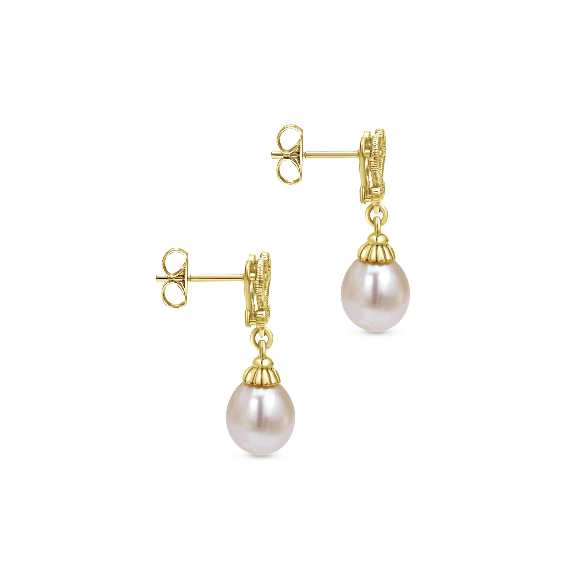 Earrings - YELLOW GOLD DROP CULTURED PEARL EARRINGS - image #3