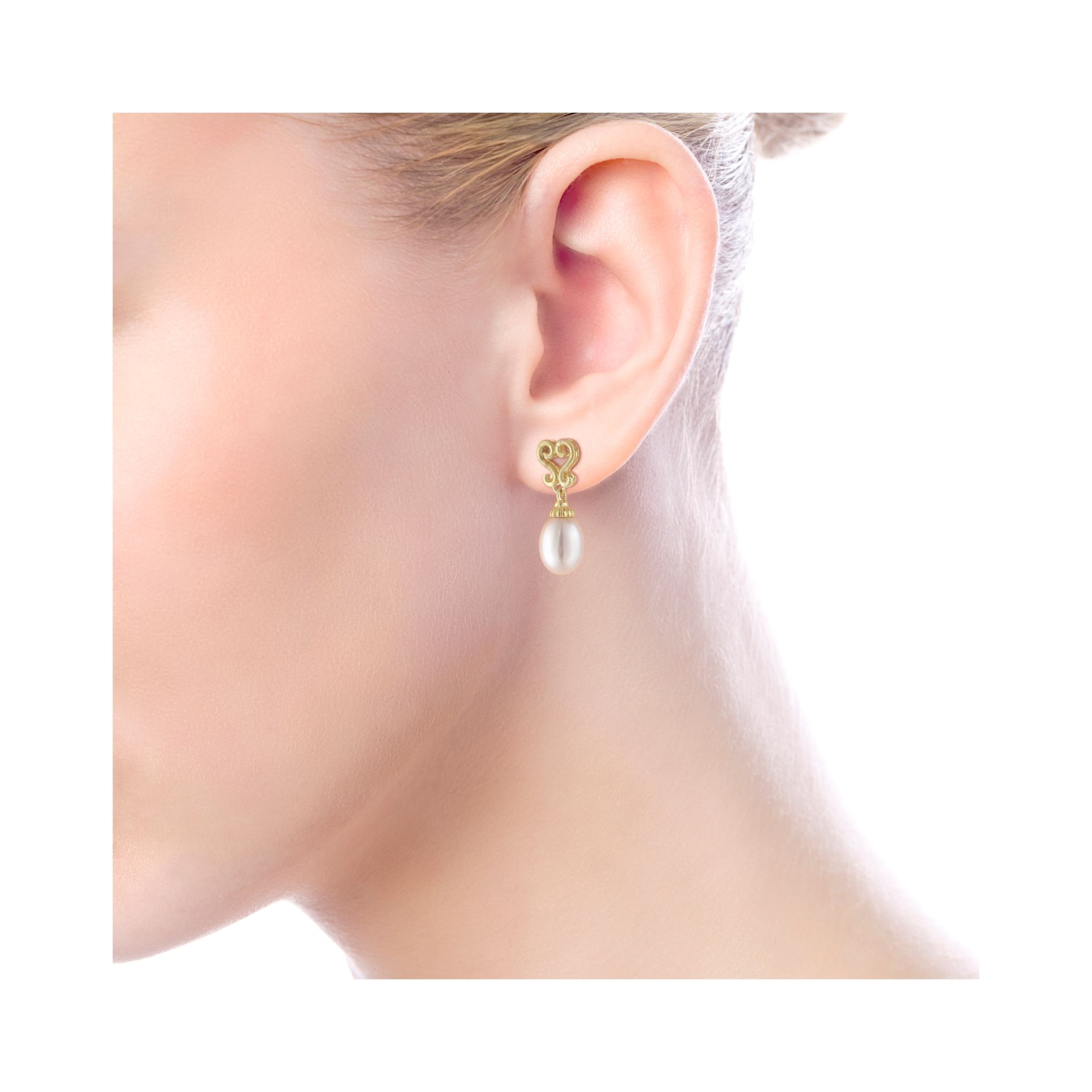 Earrings - YELLOW GOLD DROP CULTURED PEARL EARRINGS - image #4