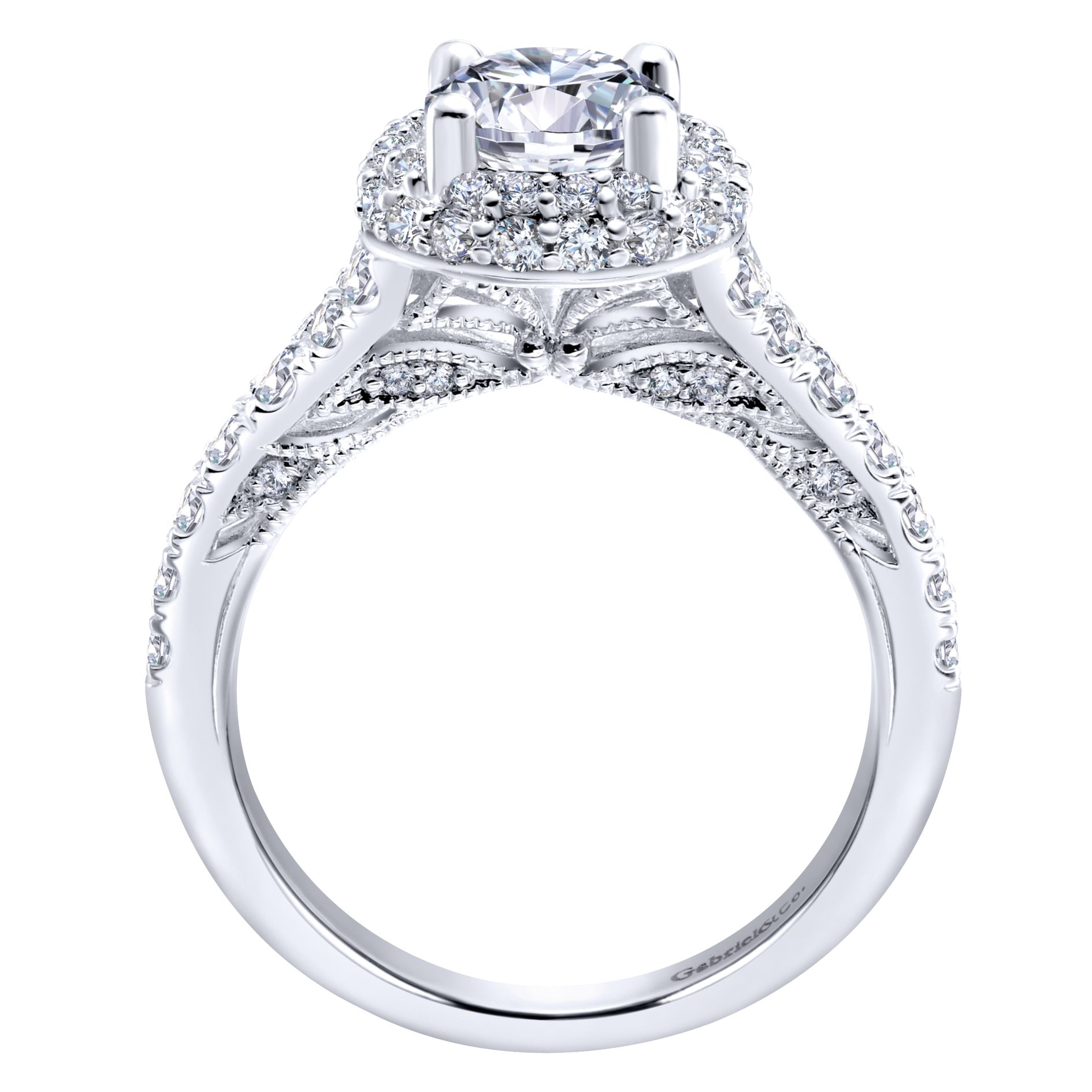 Engagement Rings - WHITE GOLD ROUND HALO DIAMOND ENGAGEMENT RING - image #2