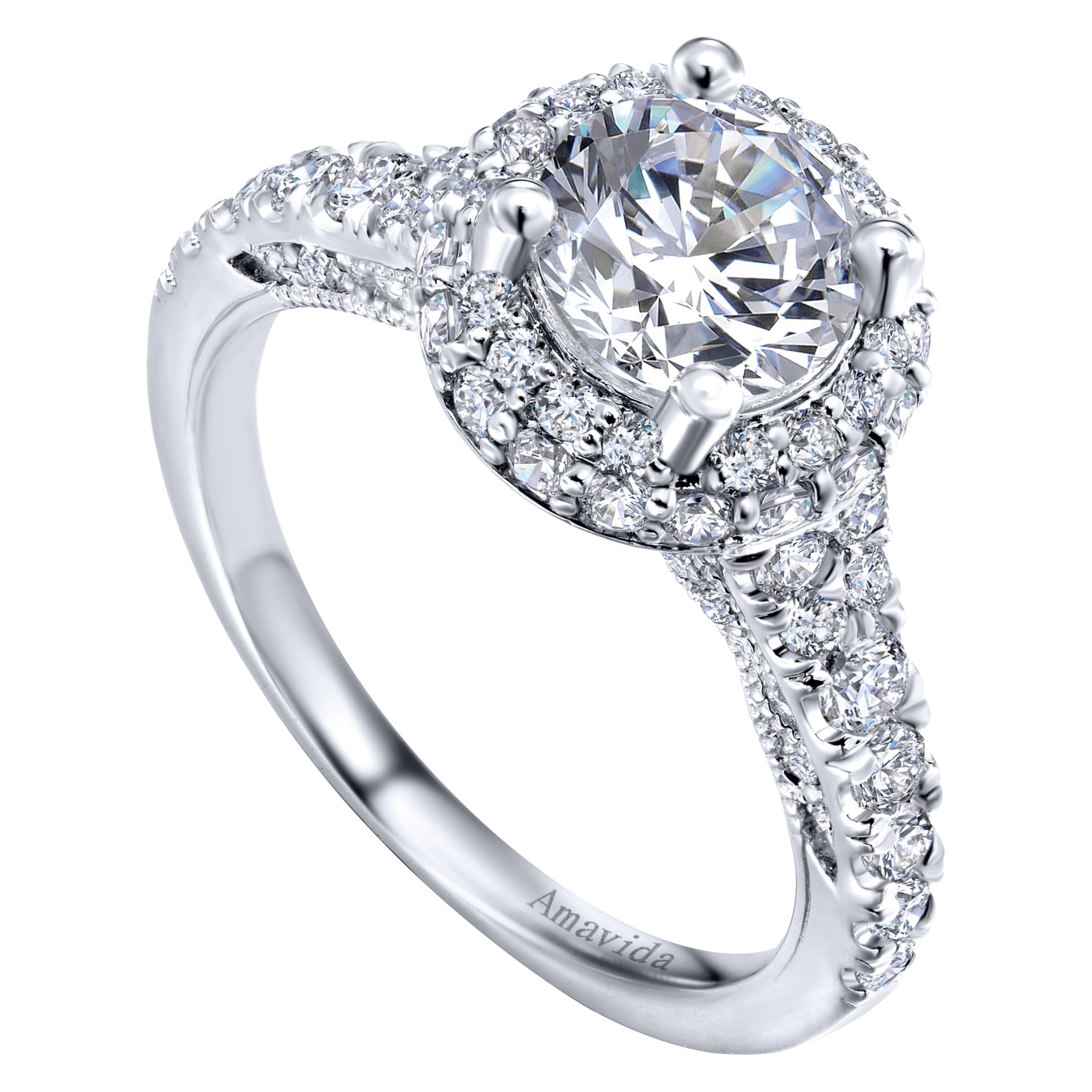 Engagement Rings - WHITE GOLD ROUND HALO DIAMOND ENGAGEMENT RING - image #3