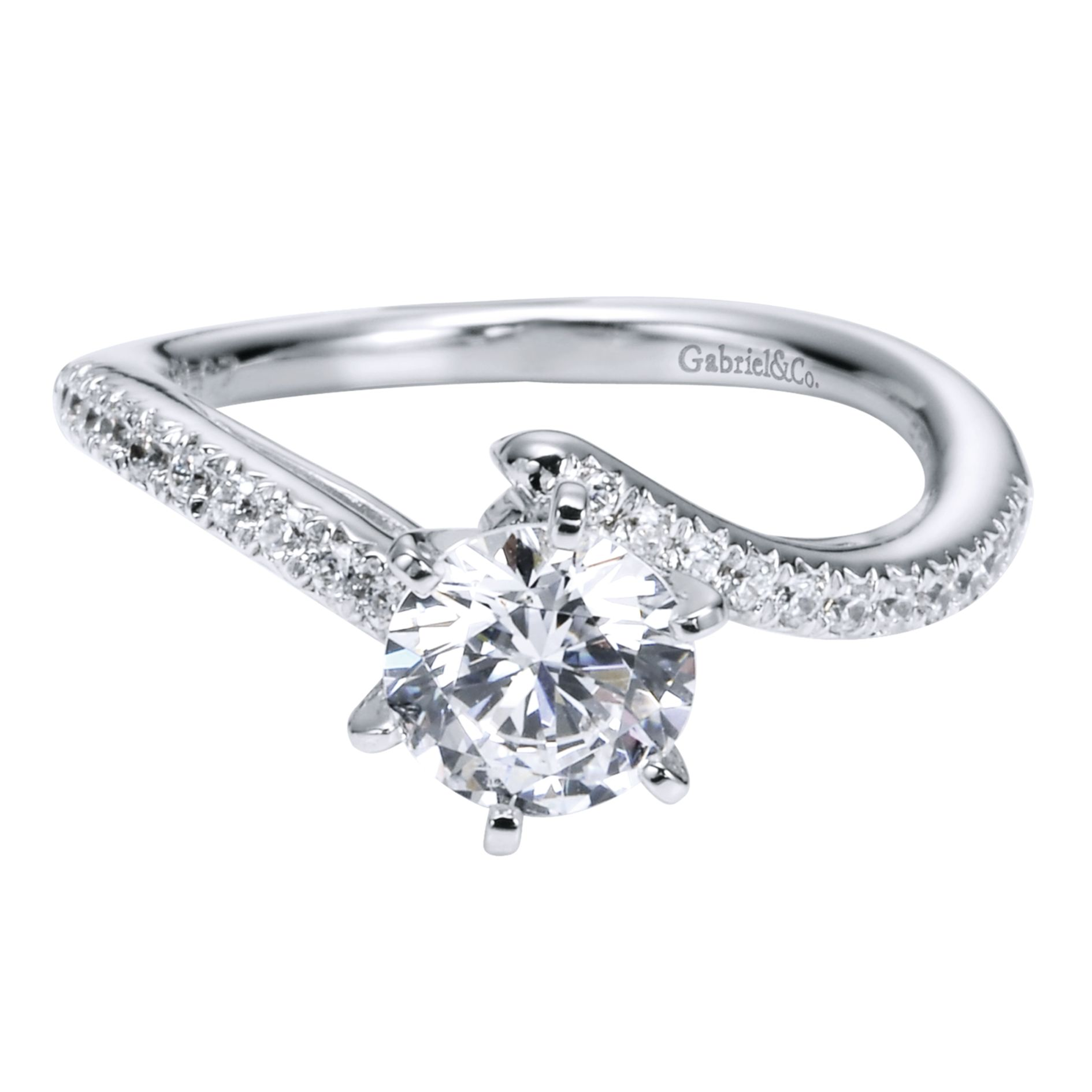 Engagement Rings - WHITE GOLD ROUND BYPASS DIAMOND ENGAGEMENT RING