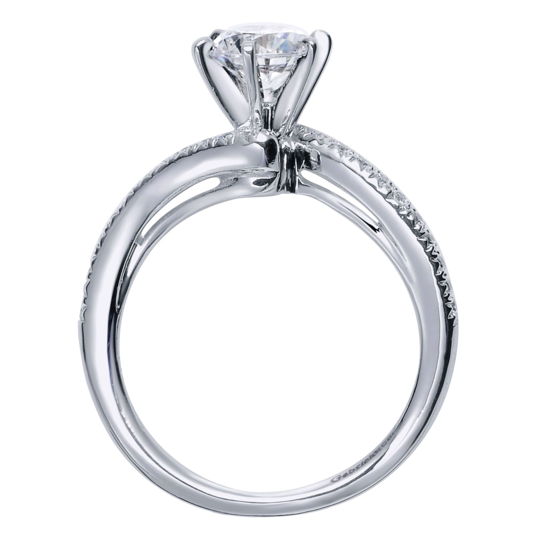 Engagement Rings - WHITE GOLD ROUND BYPASS DIAMOND ENGAGEMENT RING - image #2