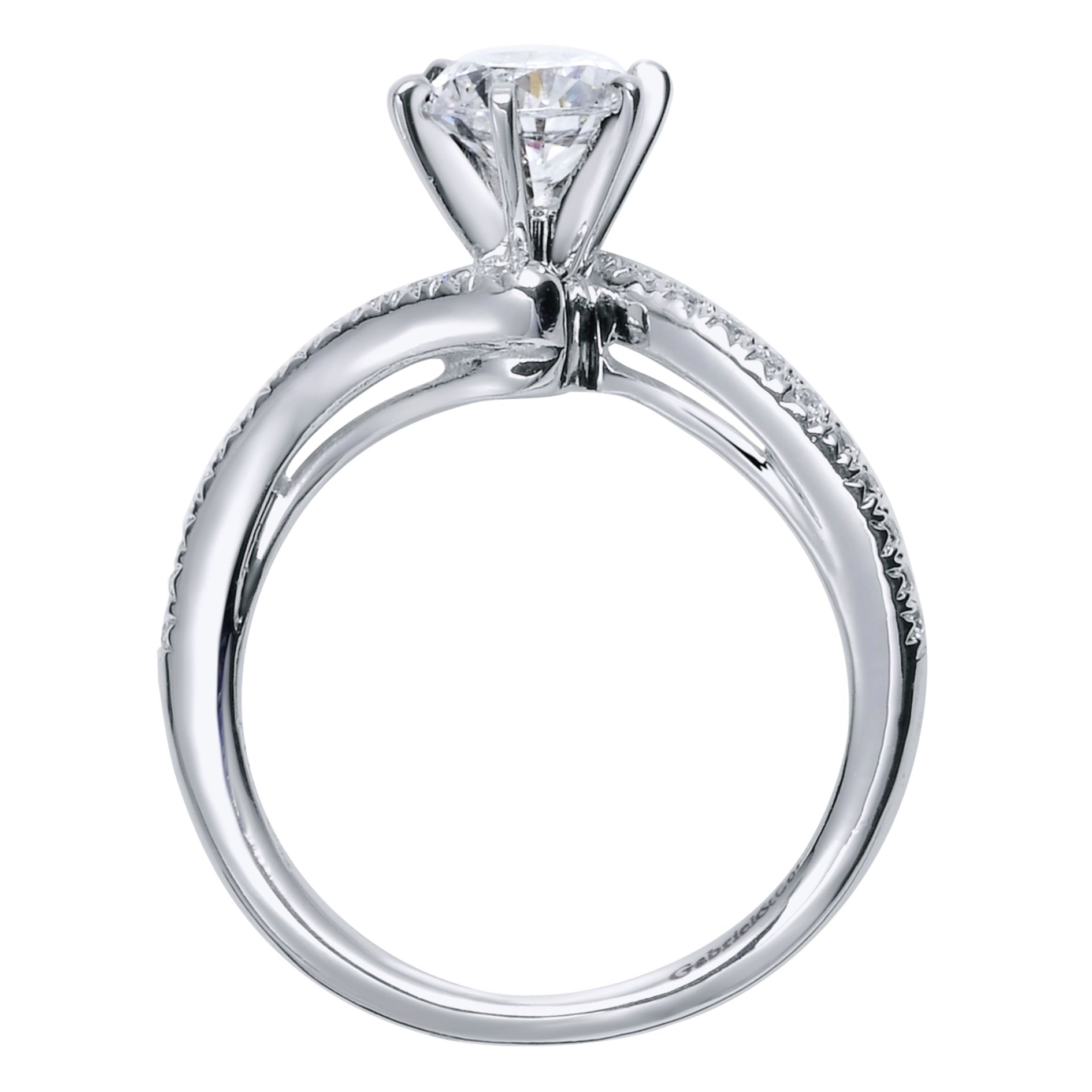 Engagement Rings - WHITE GOLD ROUND BYPASS DIAMOND ENGAGEMENT RING - image #3