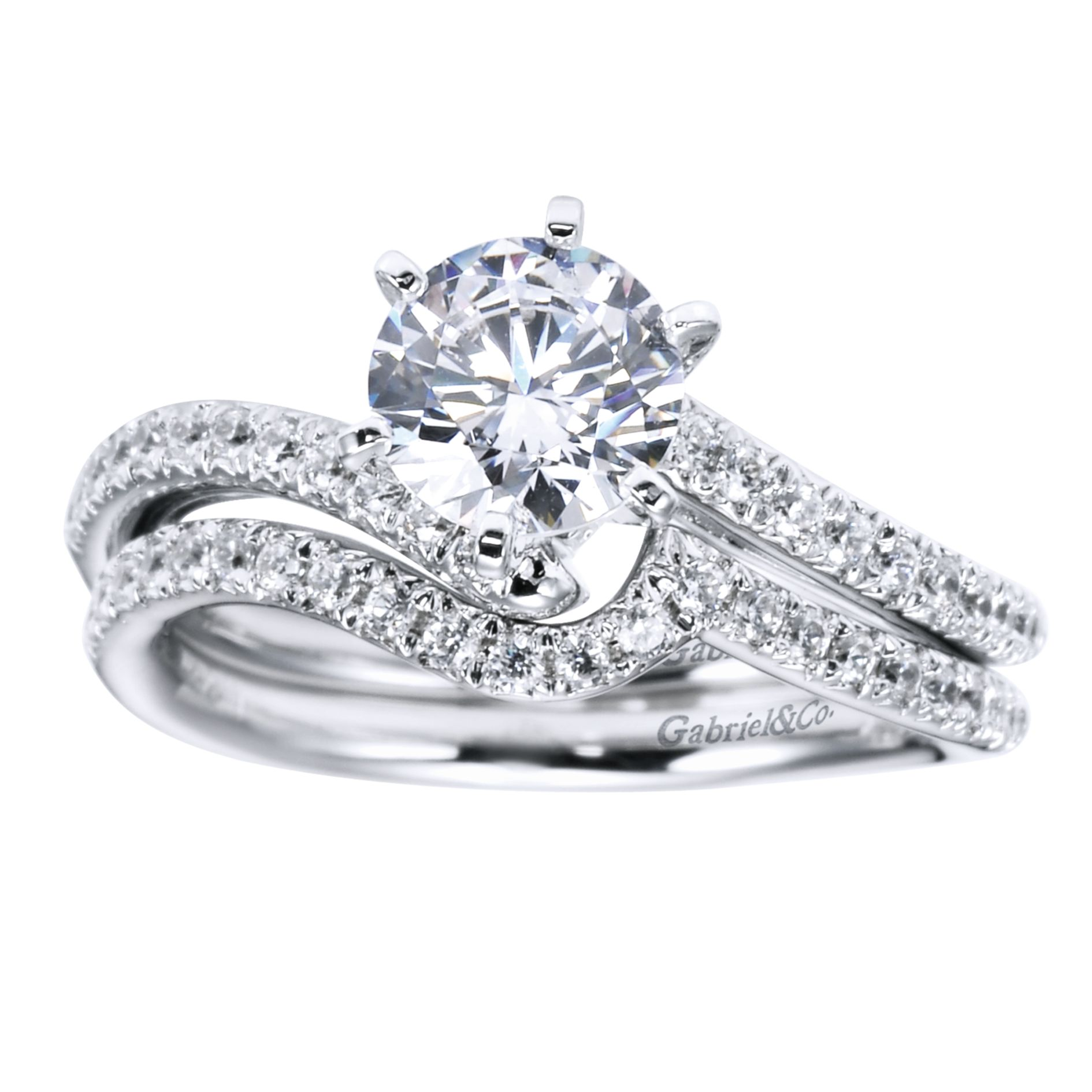 Engagement Rings - WHITE GOLD ROUND BYPASS DIAMOND ENGAGEMENT RING - image #4
