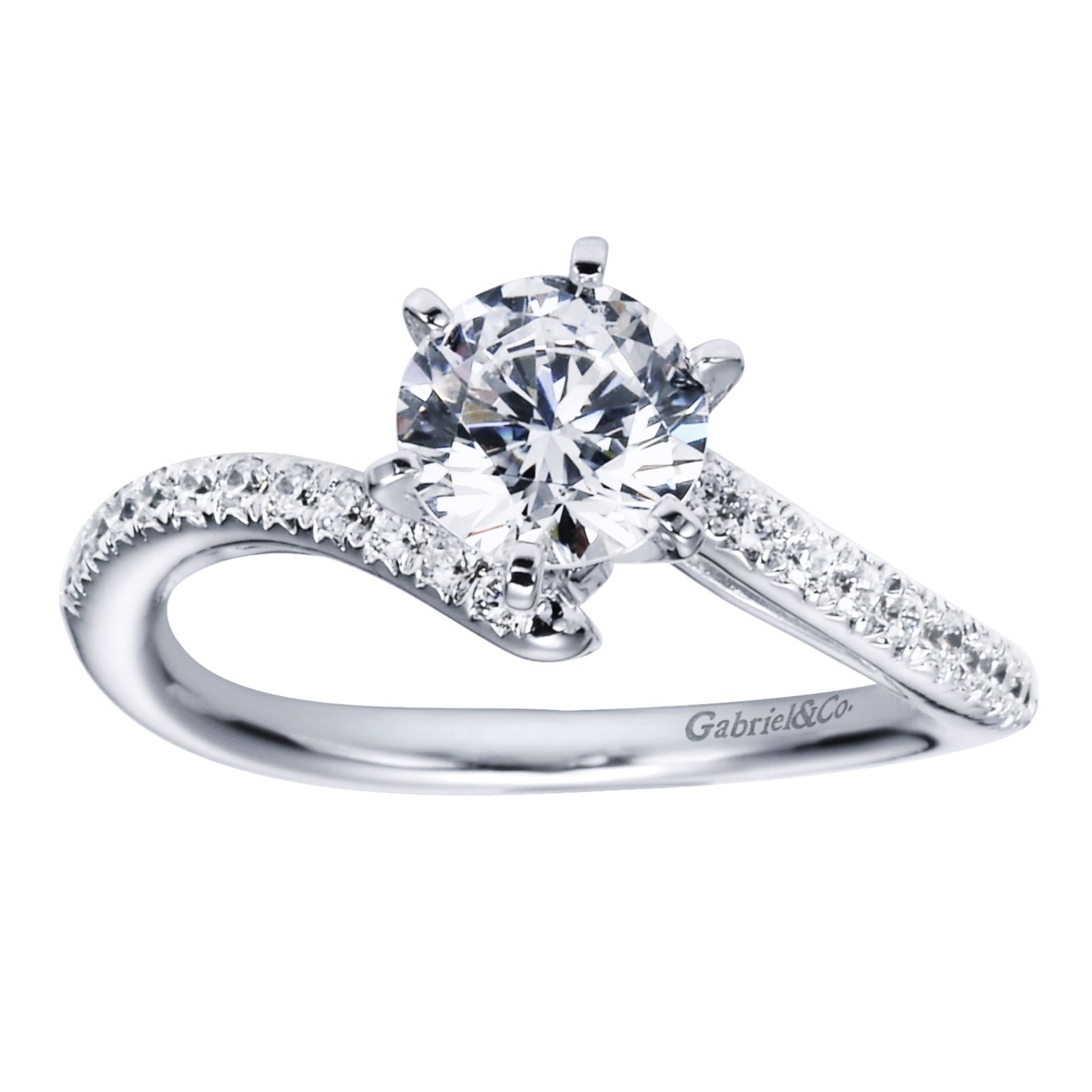 Engagement Rings - WHITE GOLD ROUND BYPASS DIAMOND ENGAGEMENT RING - image #5