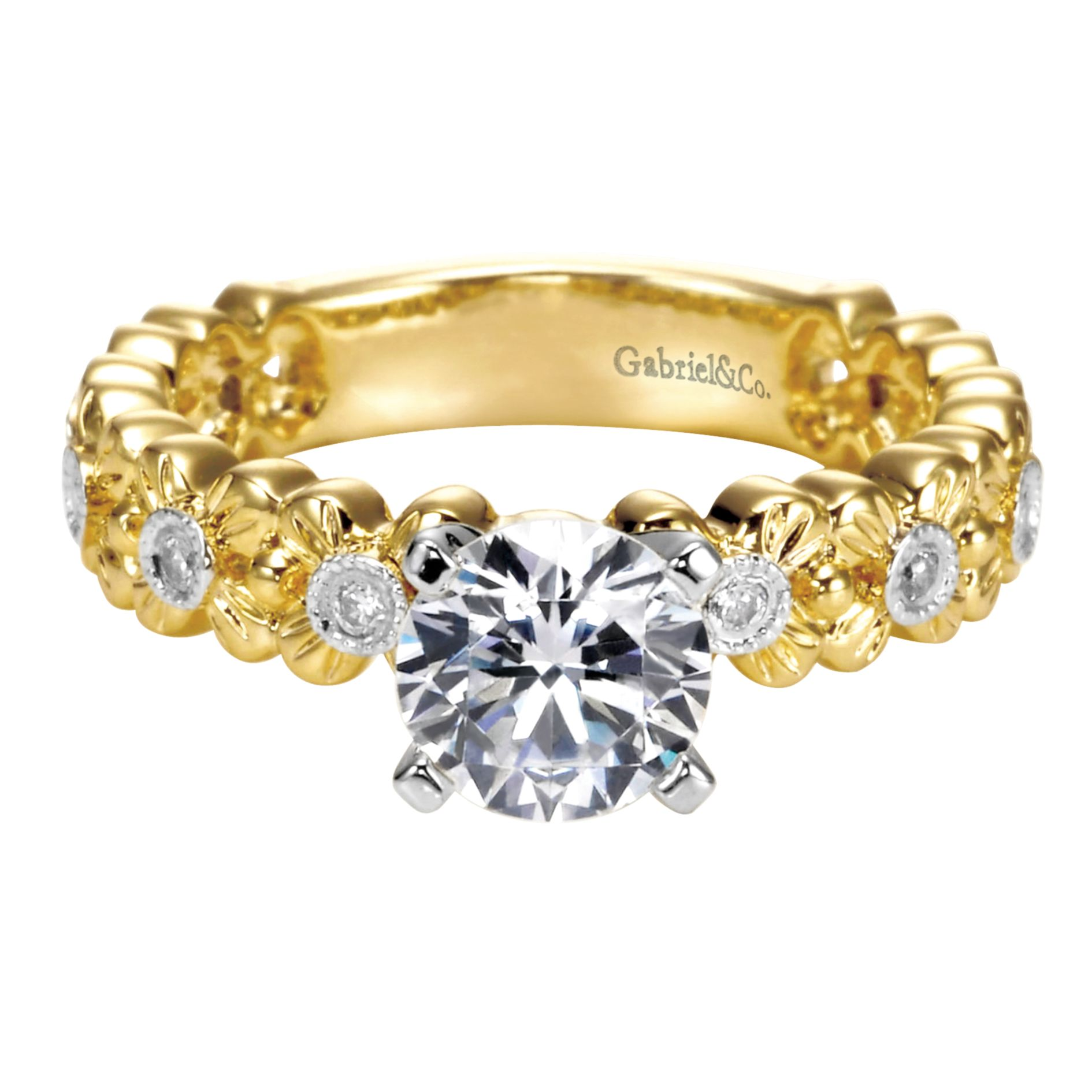 Engagement Rings - YELLOW GOLD ROUND STRAIGHT DIAMOND ENGAGEMENT RING