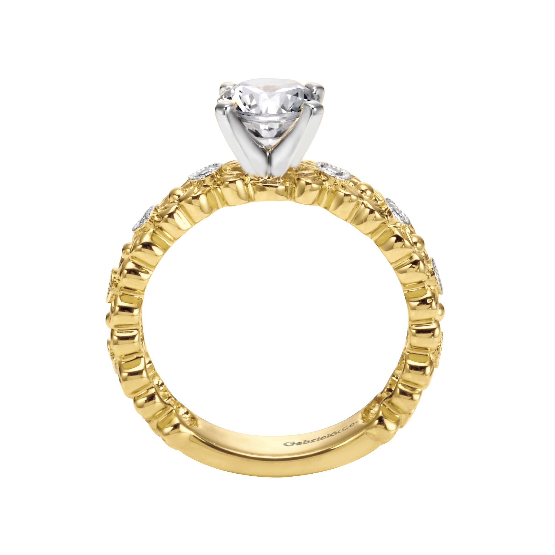 Engagement Rings - YELLOW GOLD ROUND STRAIGHT DIAMOND ENGAGEMENT RING - image #2