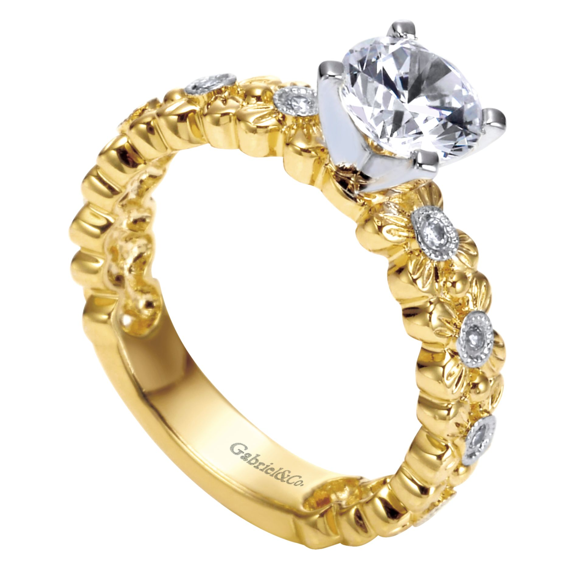 Engagement Rings - YELLOW GOLD ROUND STRAIGHT DIAMOND ENGAGEMENT RING - image #3