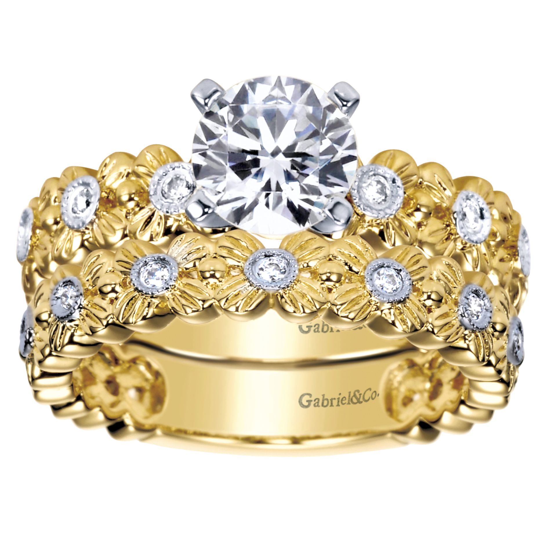 Engagement Rings - YELLOW GOLD ROUND STRAIGHT DIAMOND ENGAGEMENT RING - image #4