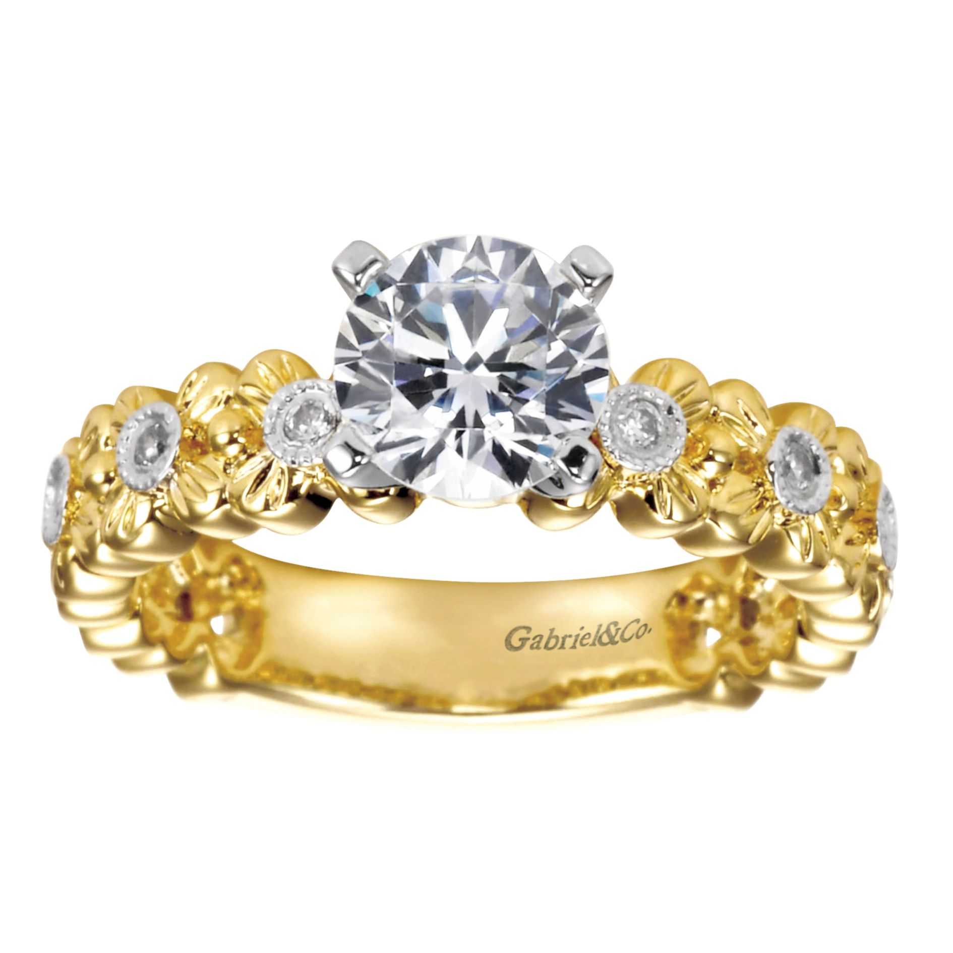 Engagement Rings - YELLOW GOLD ROUND STRAIGHT DIAMOND ENGAGEMENT RING - image #5