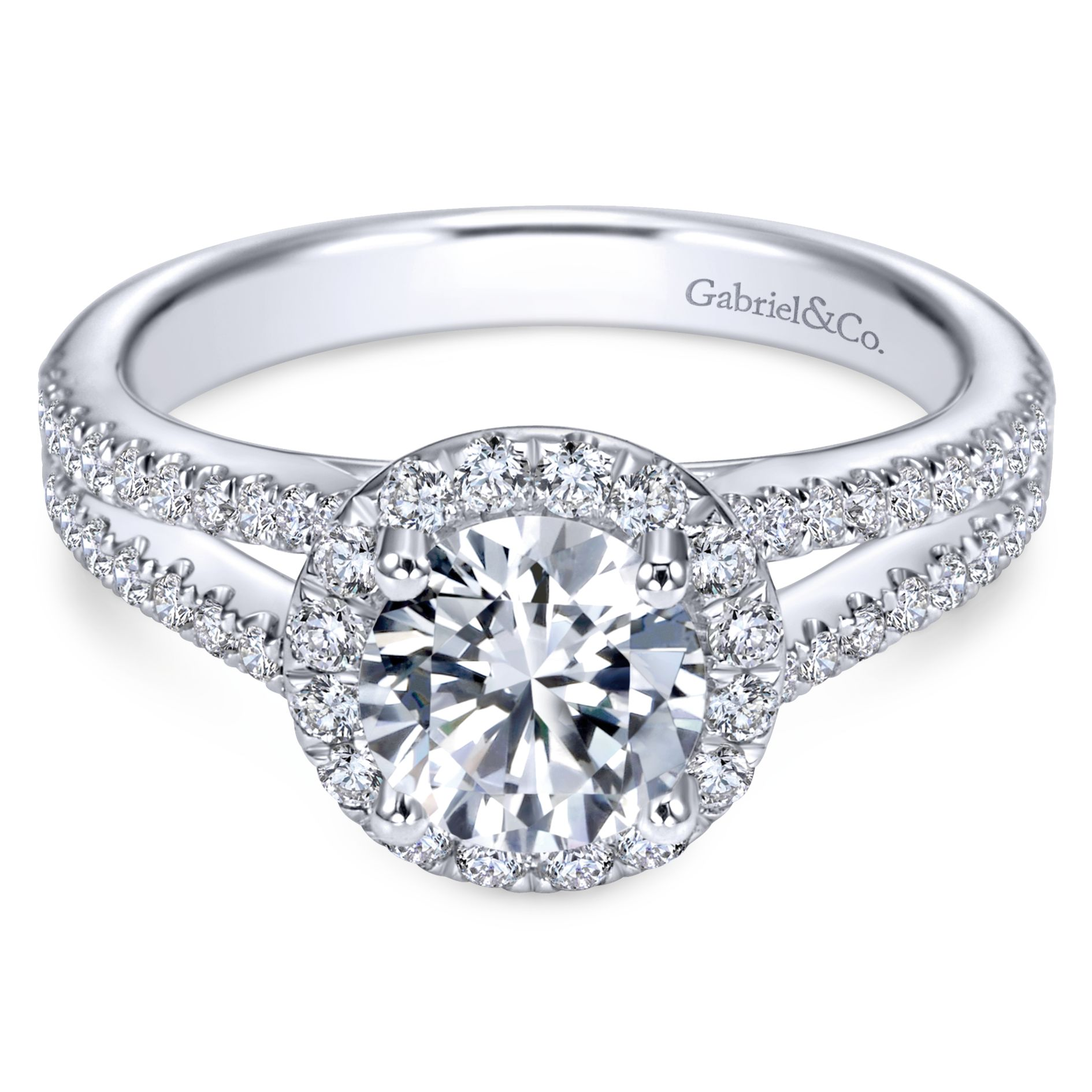 Engagement Rings - WHITE GOLD ROUND HALO DIAMOND ENGAGEMENT RING