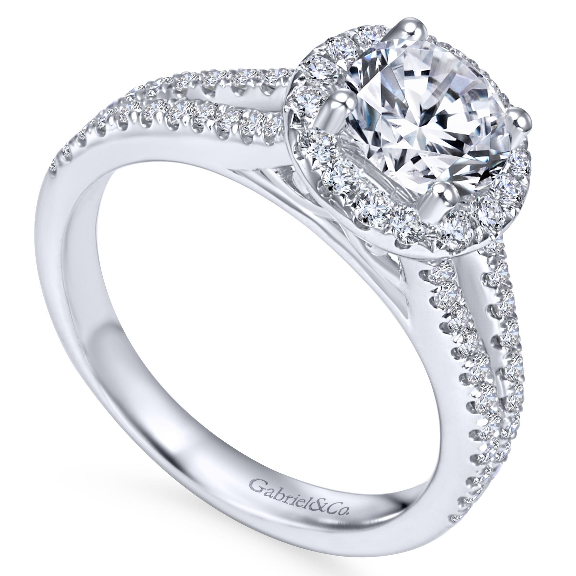 Engagement Rings - WHITE GOLD ROUND HALO DIAMOND ENGAGEMENT RING - image 3