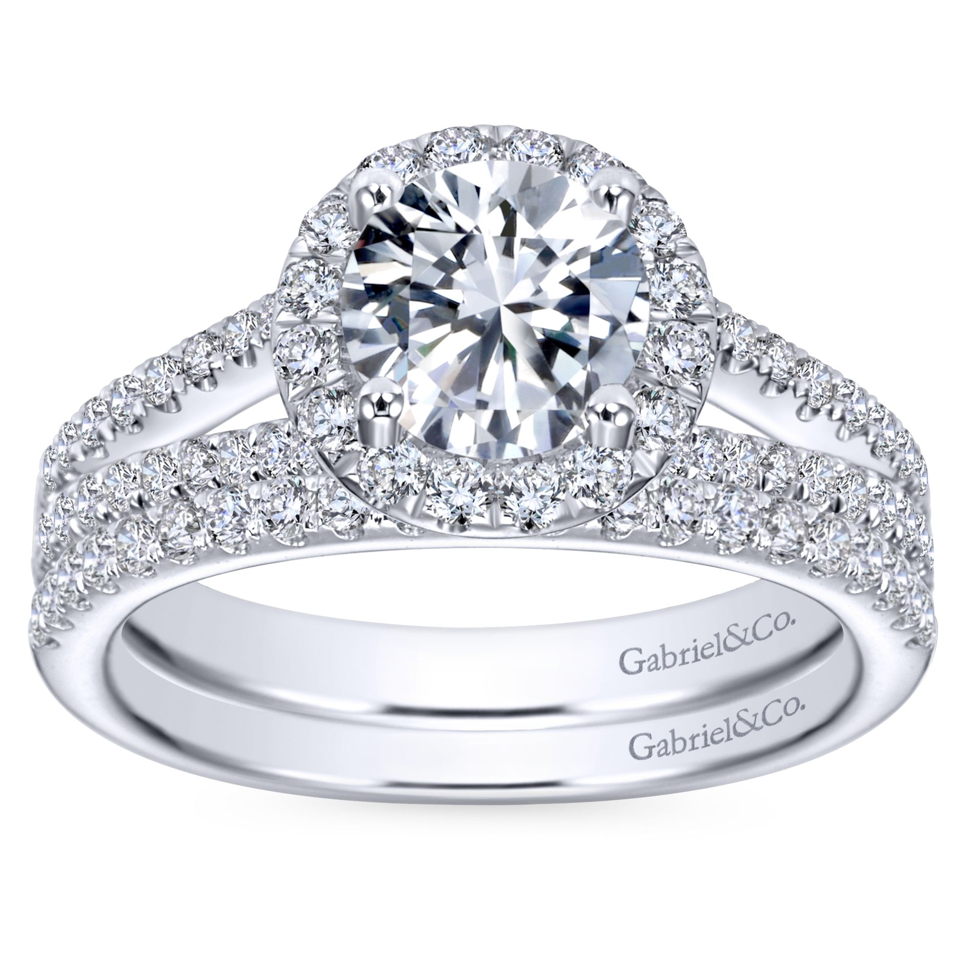Engagement Rings - WHITE GOLD ROUND HALO DIAMOND ENGAGEMENT RING - image #4