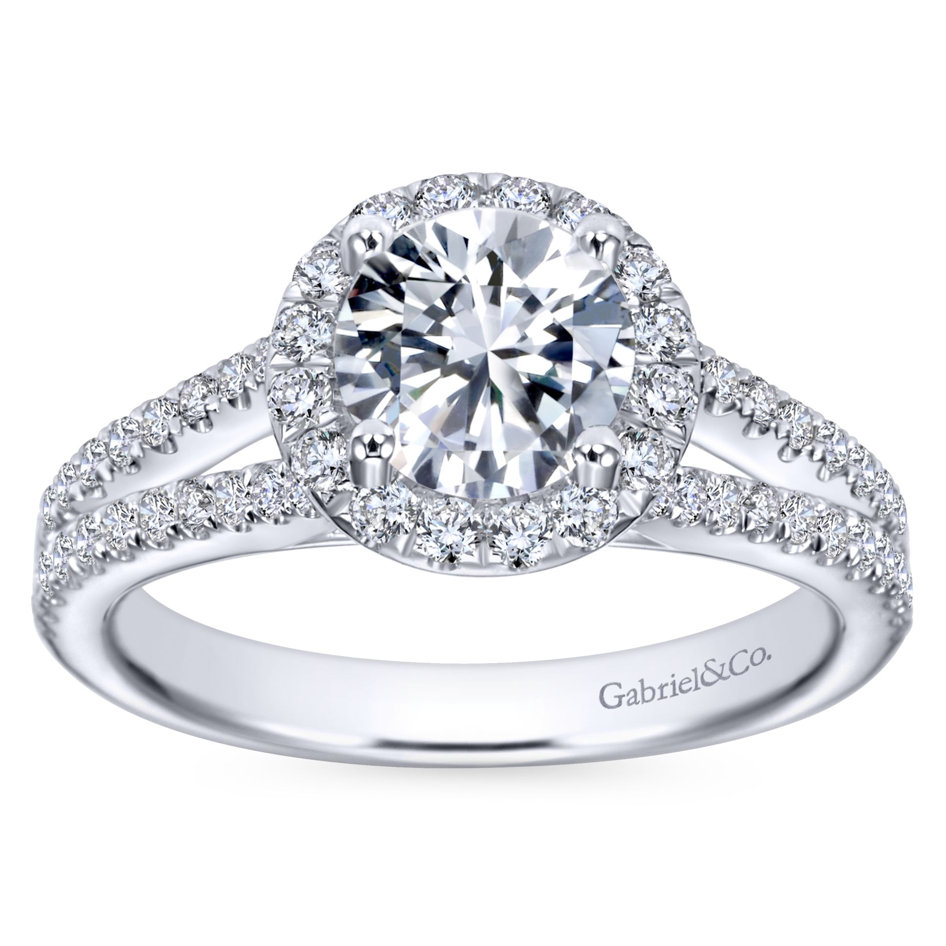 Engagement Rings - WHITE GOLD ROUND HALO DIAMOND ENGAGEMENT RING - image #5