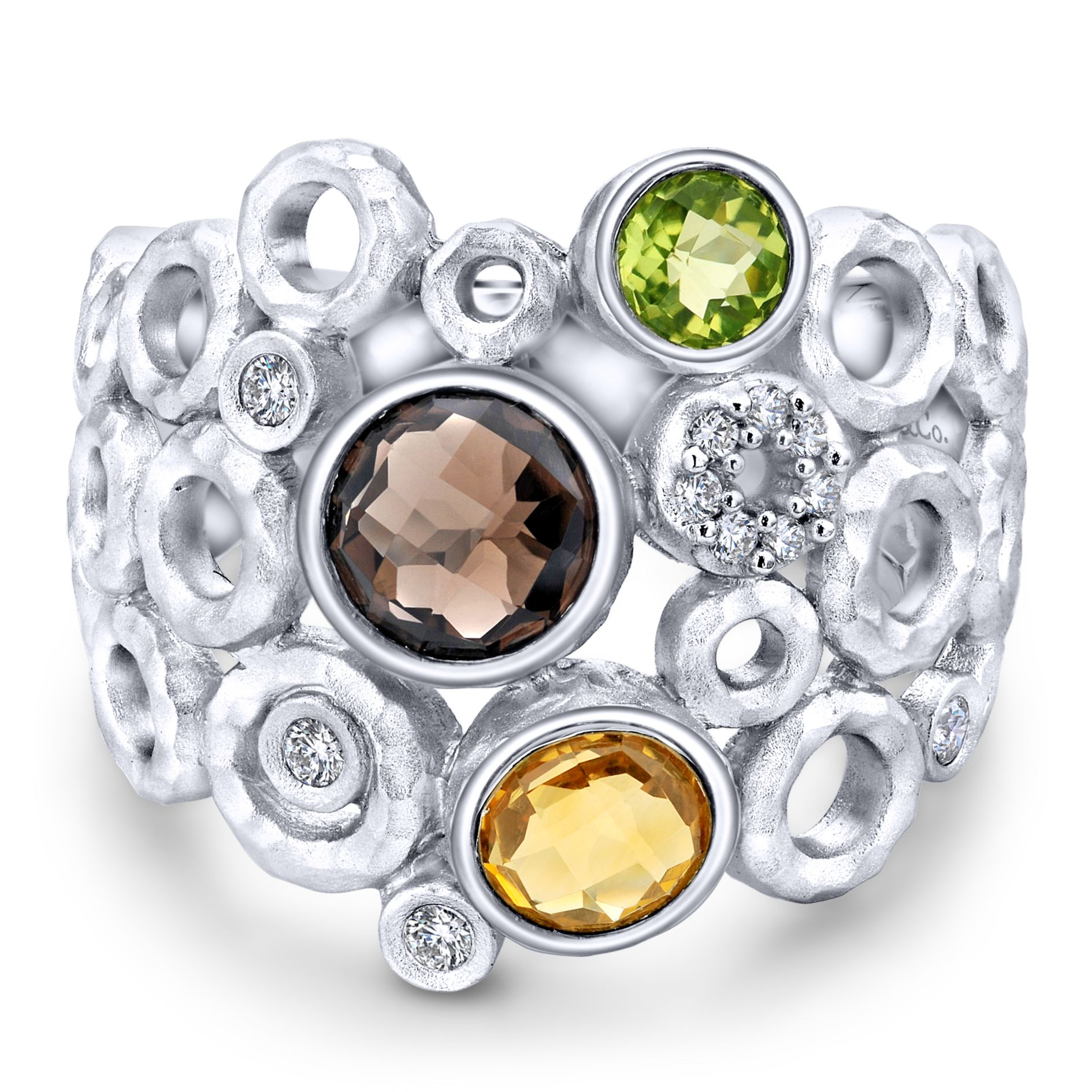 Rings - SILVER WIDE BAND MULTI COLOR STONE LADIES RING