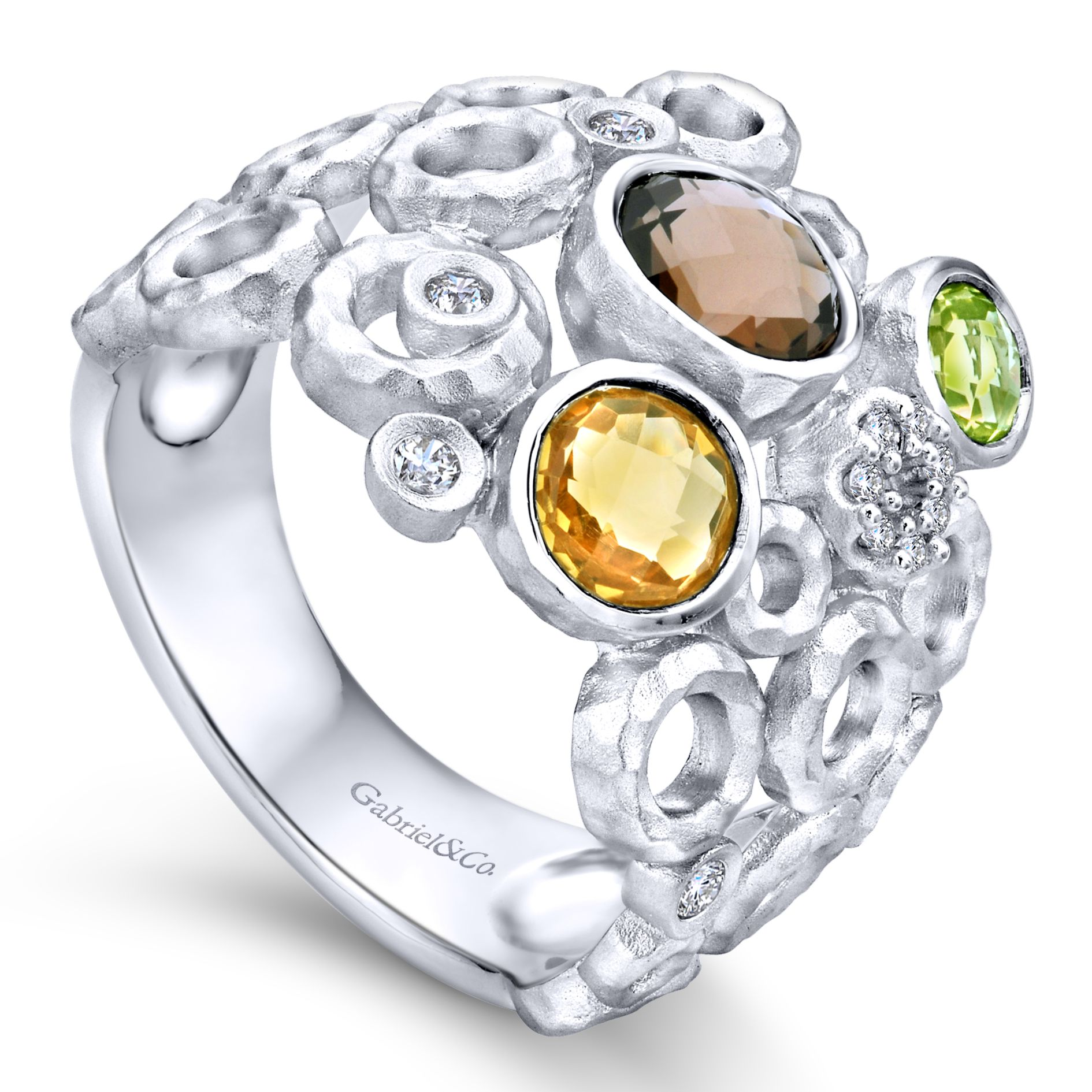 Rings - SILVER WIDE BAND MULTI COLOR STONE LADIES RING - image #3