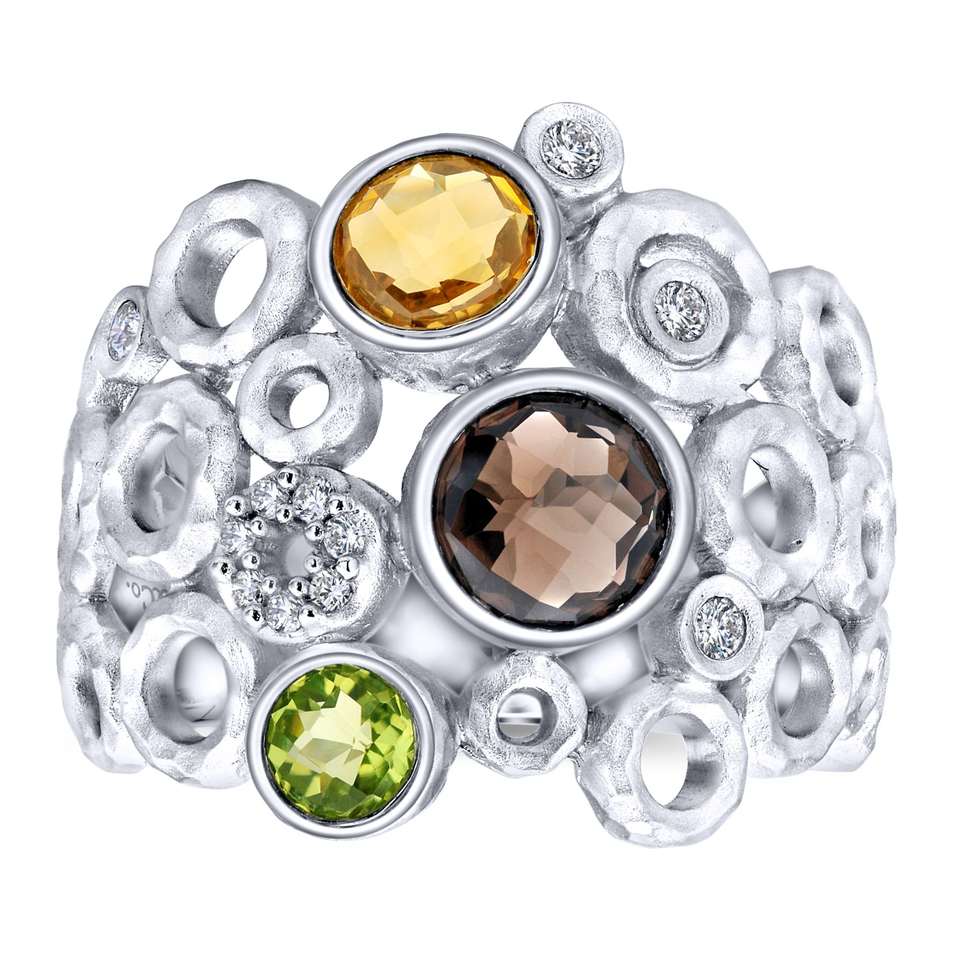 Rings - SILVER WIDE BAND MULTI COLOR STONE LADIES RING - image #4