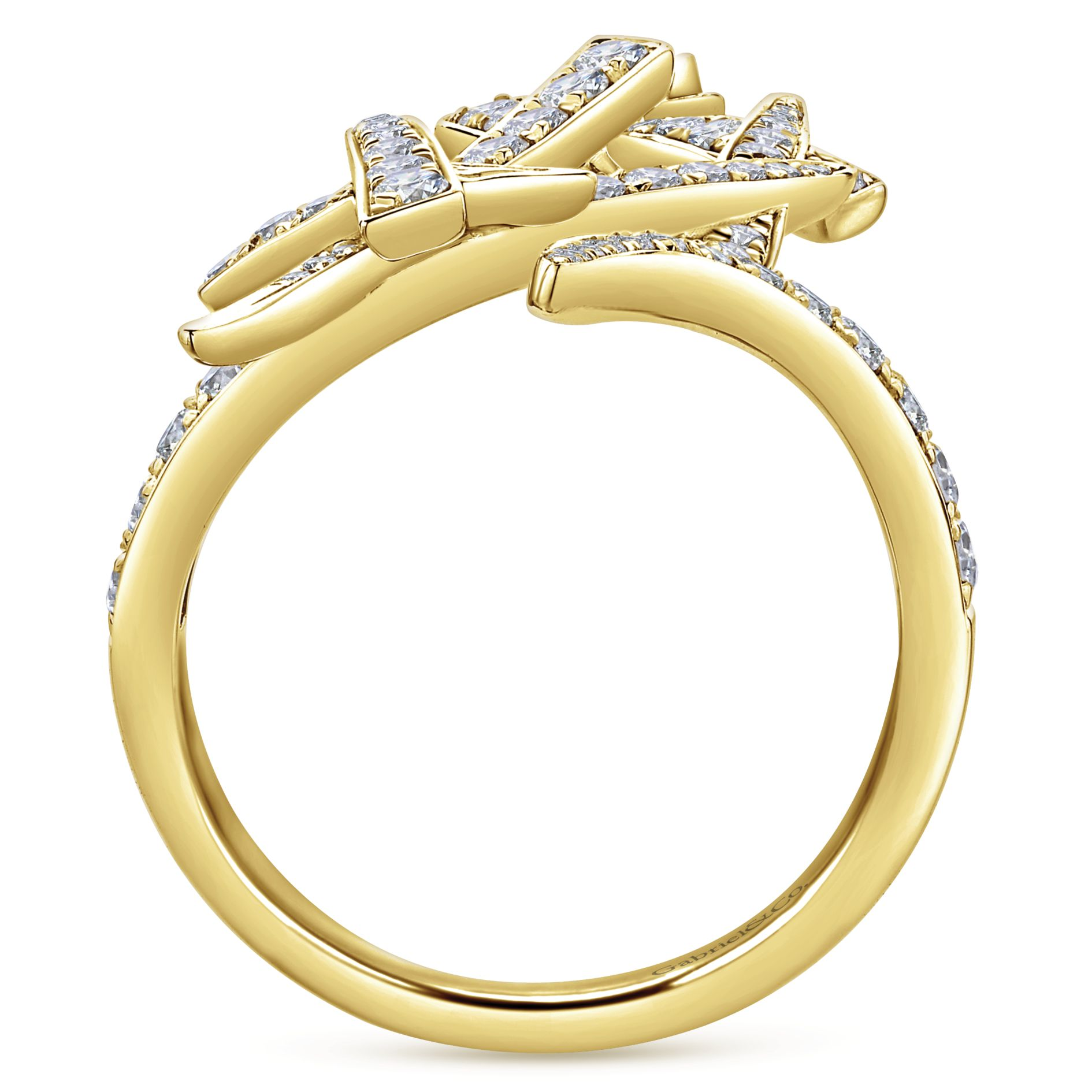Rings - YELLOW GOLD STATEMENT DIAMOND LADIES RING - image #2