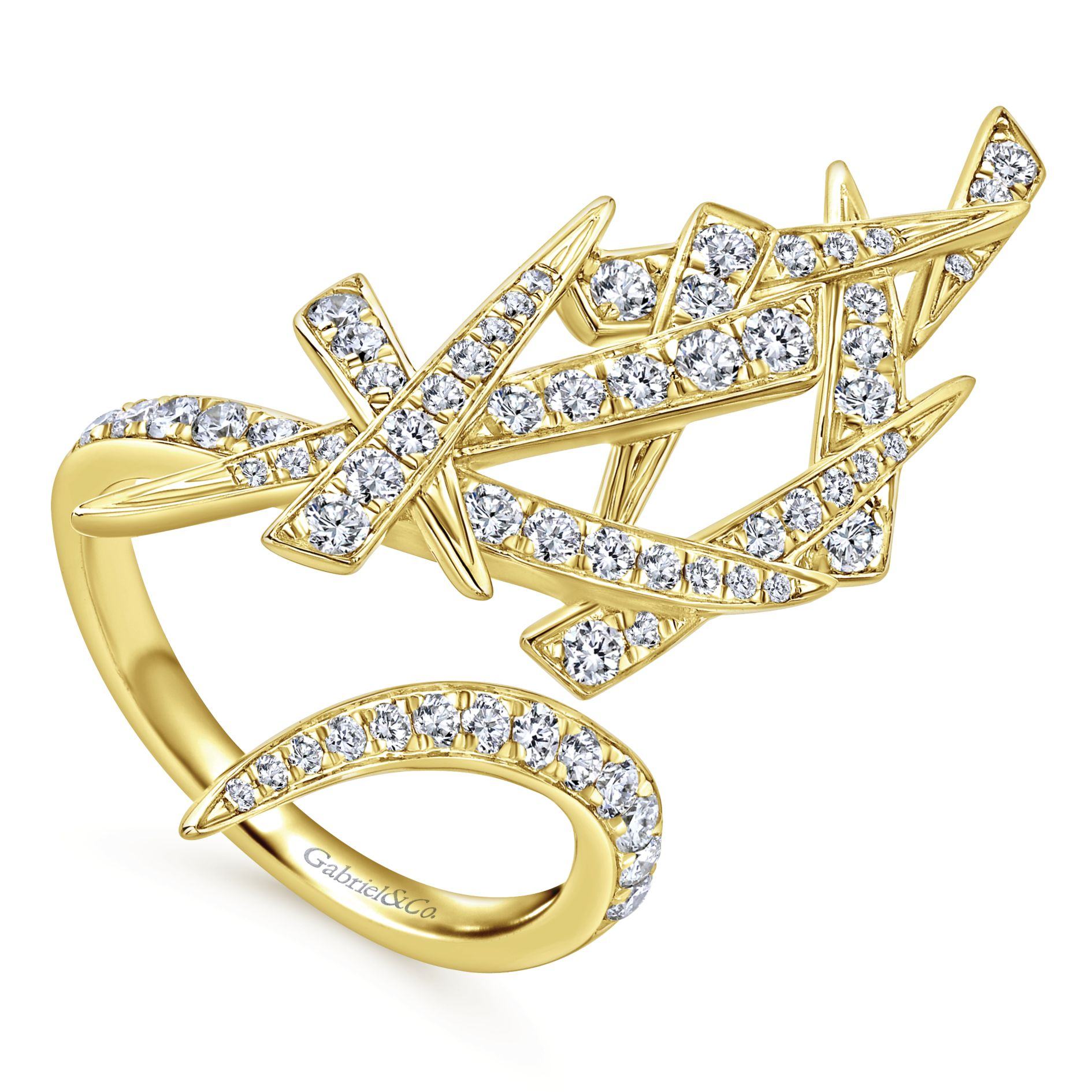 Rings - YELLOW GOLD STATEMENT DIAMOND LADIES RING - image #3
