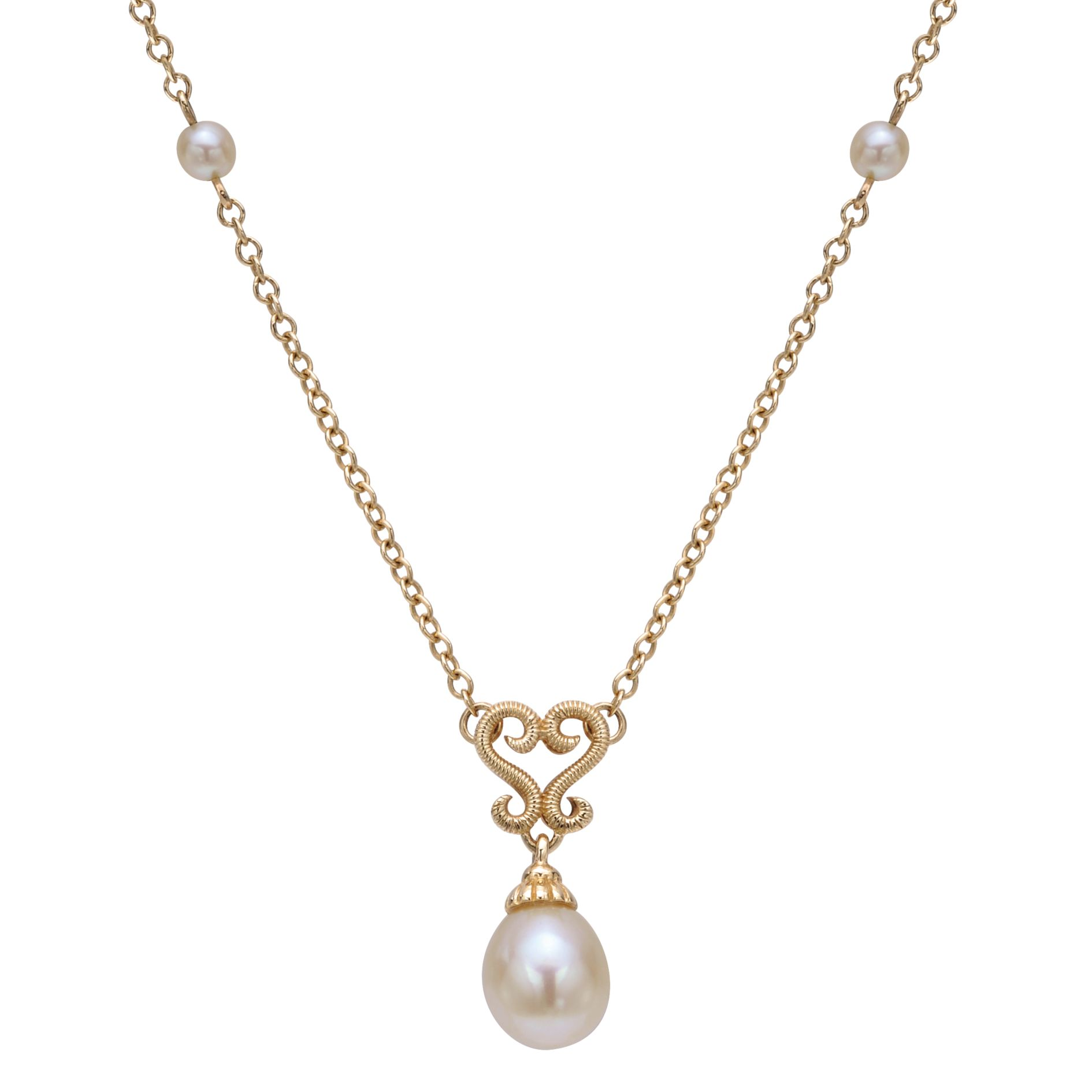 Necklaces - ELLOW GOLD FASHION CULTURED PEARL NECKLACE