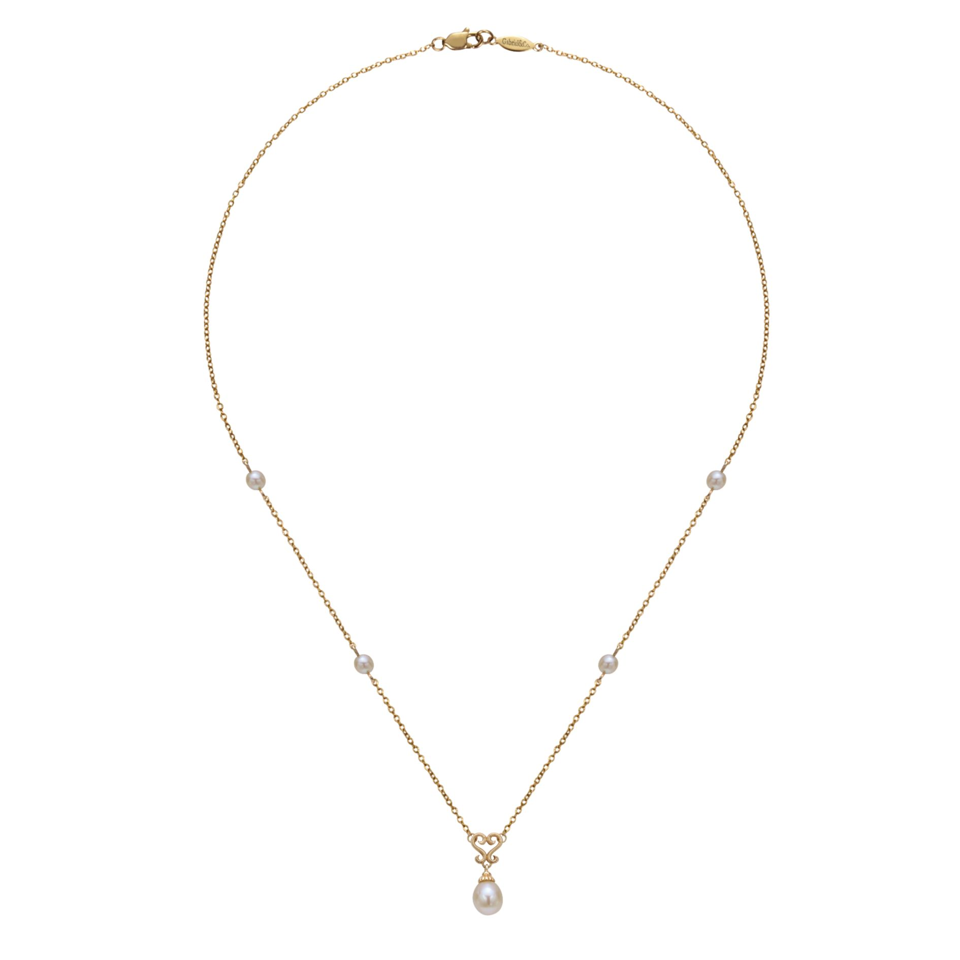 Necklaces - ELLOW GOLD FASHION CULTURED PEARL NECKLACE - image #2