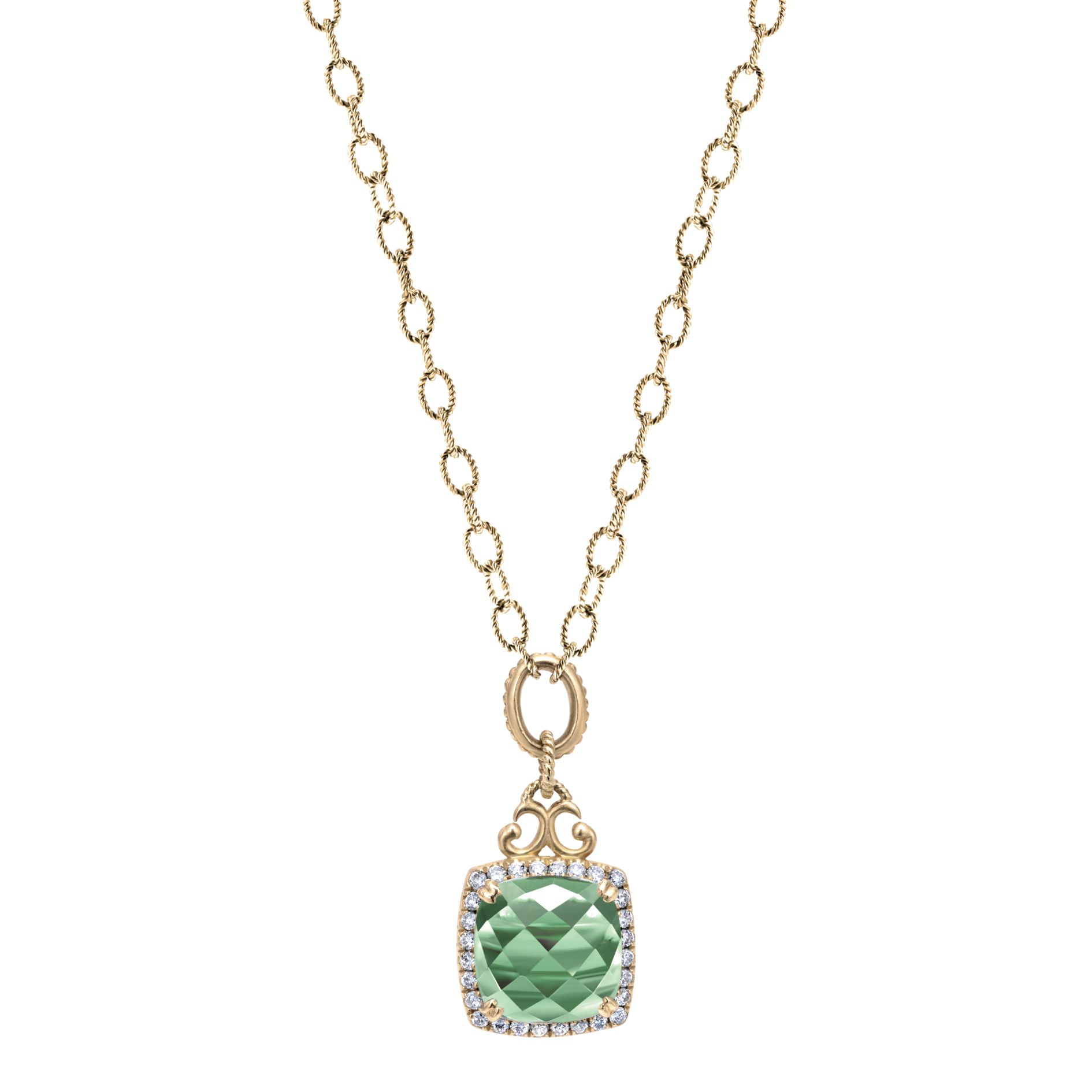 Necklaces - YELLOW GOLD FASHION DIAMOND GREEN AMETHYST NECKLACE