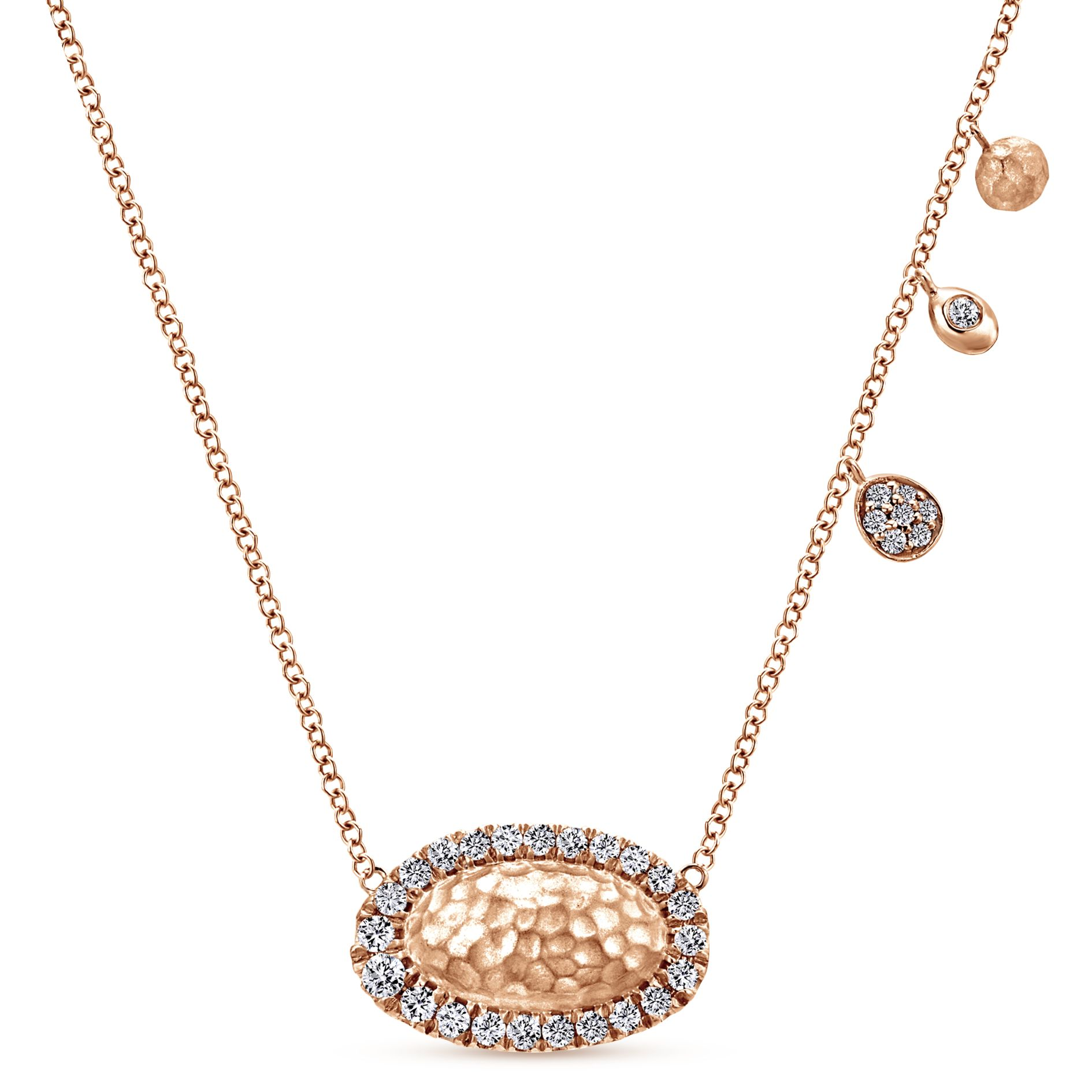 Necklaces - ROSE GOLD FASHION DIAMOND NECKLACE