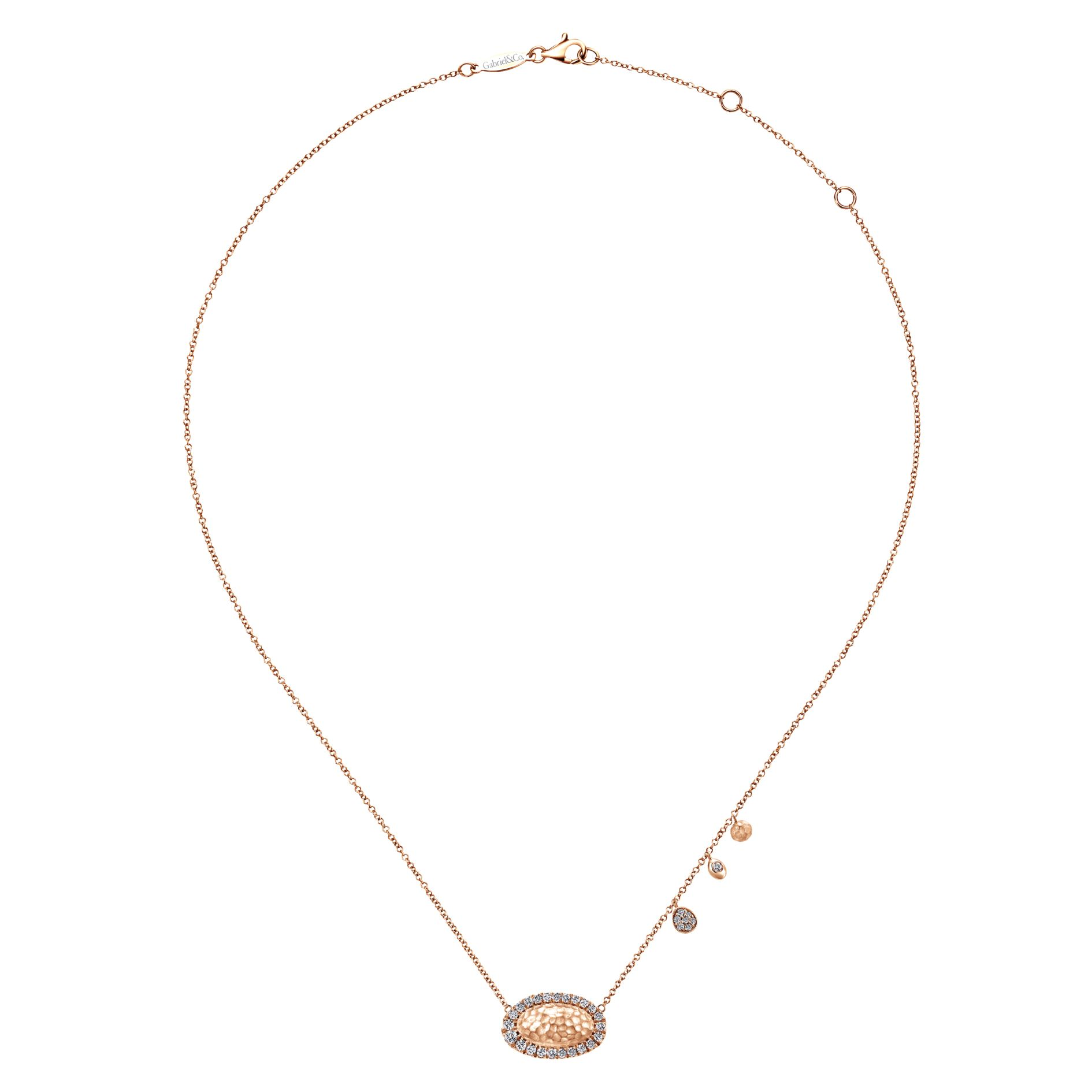 Necklaces - ROSE GOLD FASHION DIAMOND NECKLACE - image #2