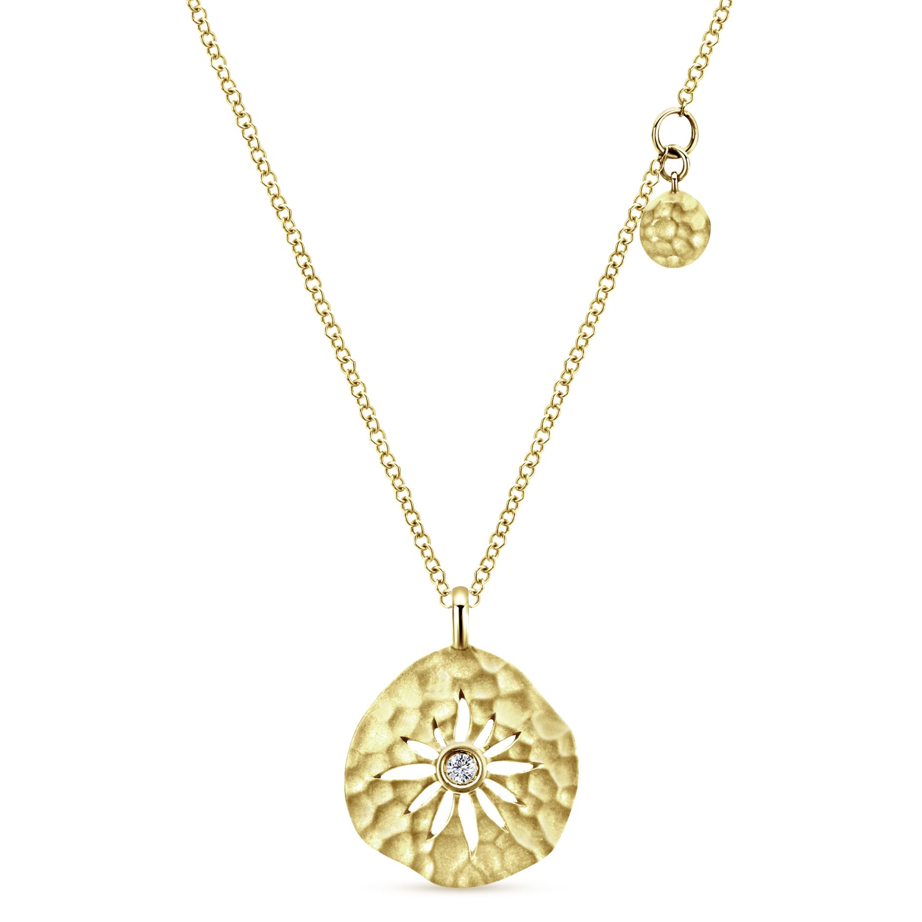 Necklaces - YELLOW GOLD FASHION DIAMOND NECKLACE