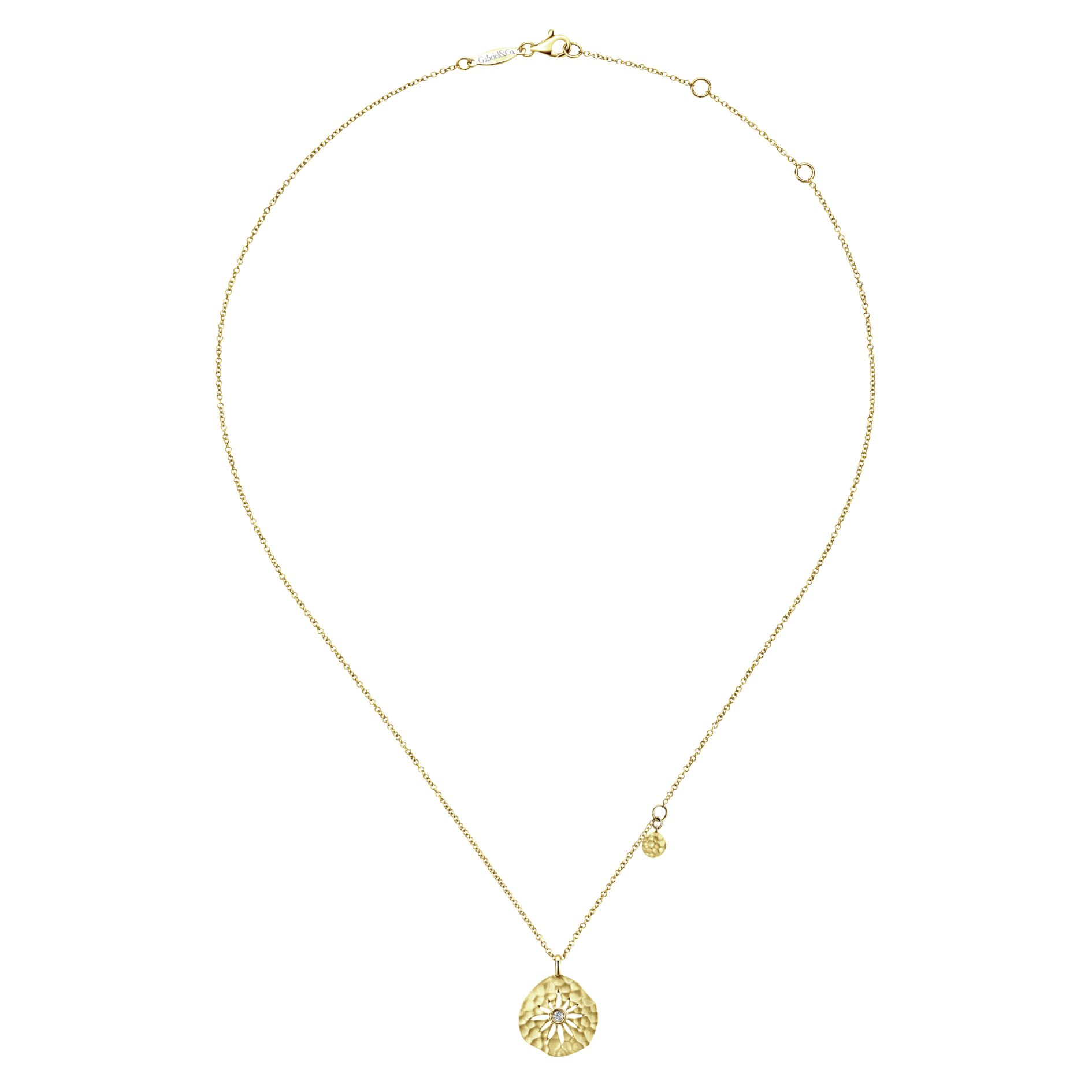 Necklaces - YELLOW GOLD FASHION DIAMOND NECKLACE - image #2