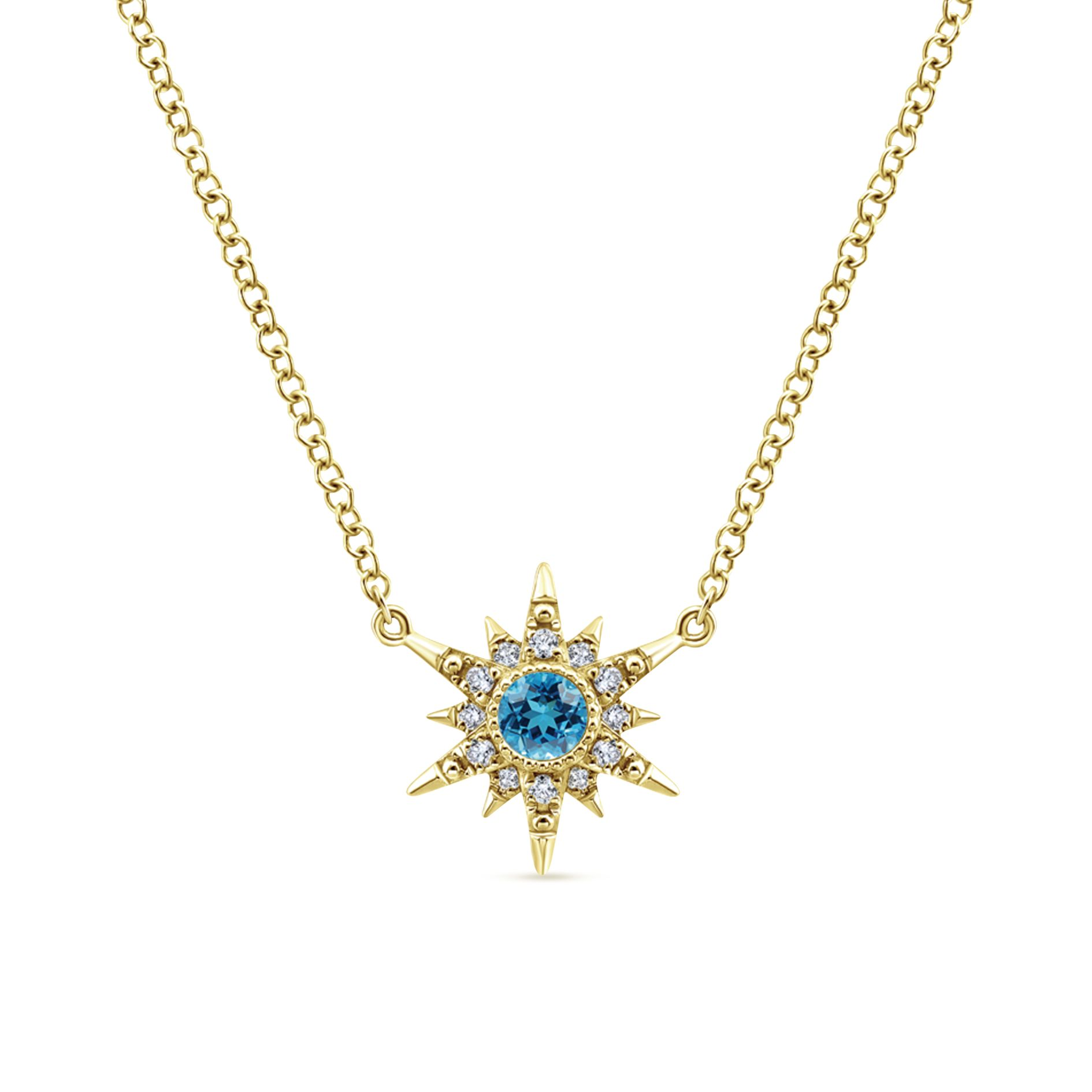 Necklaces - YELLOW GOLD FASHION DIAMOND SWISS BLUE TOPAZ NECKLACE