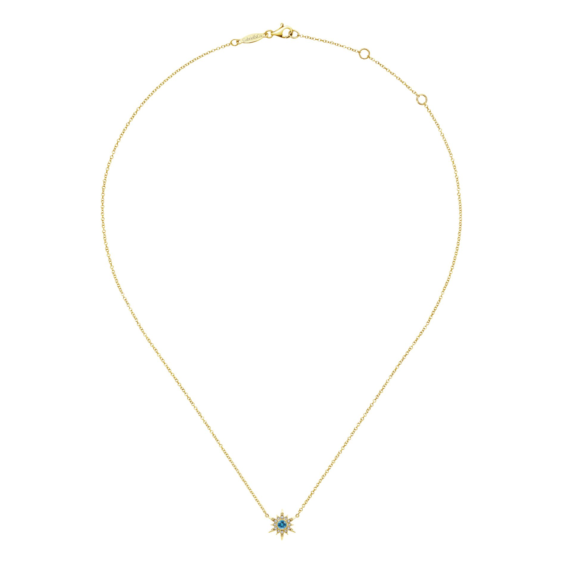 Necklaces - YELLOW GOLD FASHION DIAMOND SWISS BLUE TOPAZ NECKLACE - image #2