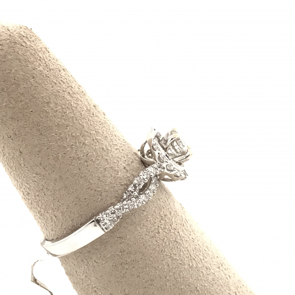 Engagement Rings - Round Diamond Engagement Ring with Twisted Band - image #2